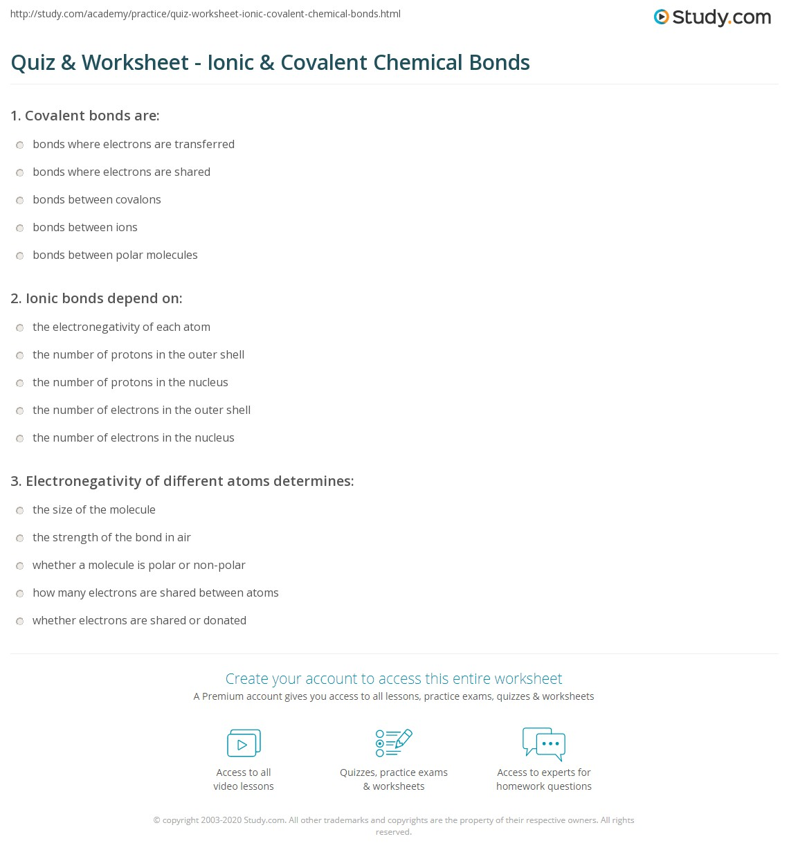 Quiz & Worksheet - Ionic & Covalent Chemical Bonds | Study.com
