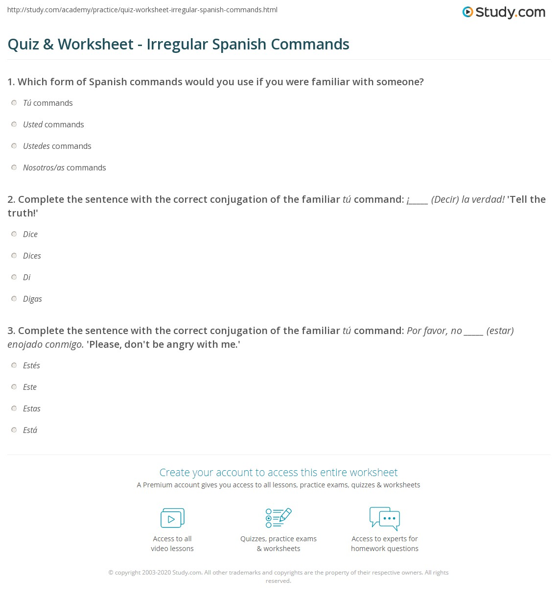 quiz worksheet irregular spanish commands. Black Bedroom Furniture Sets. Home Design Ideas