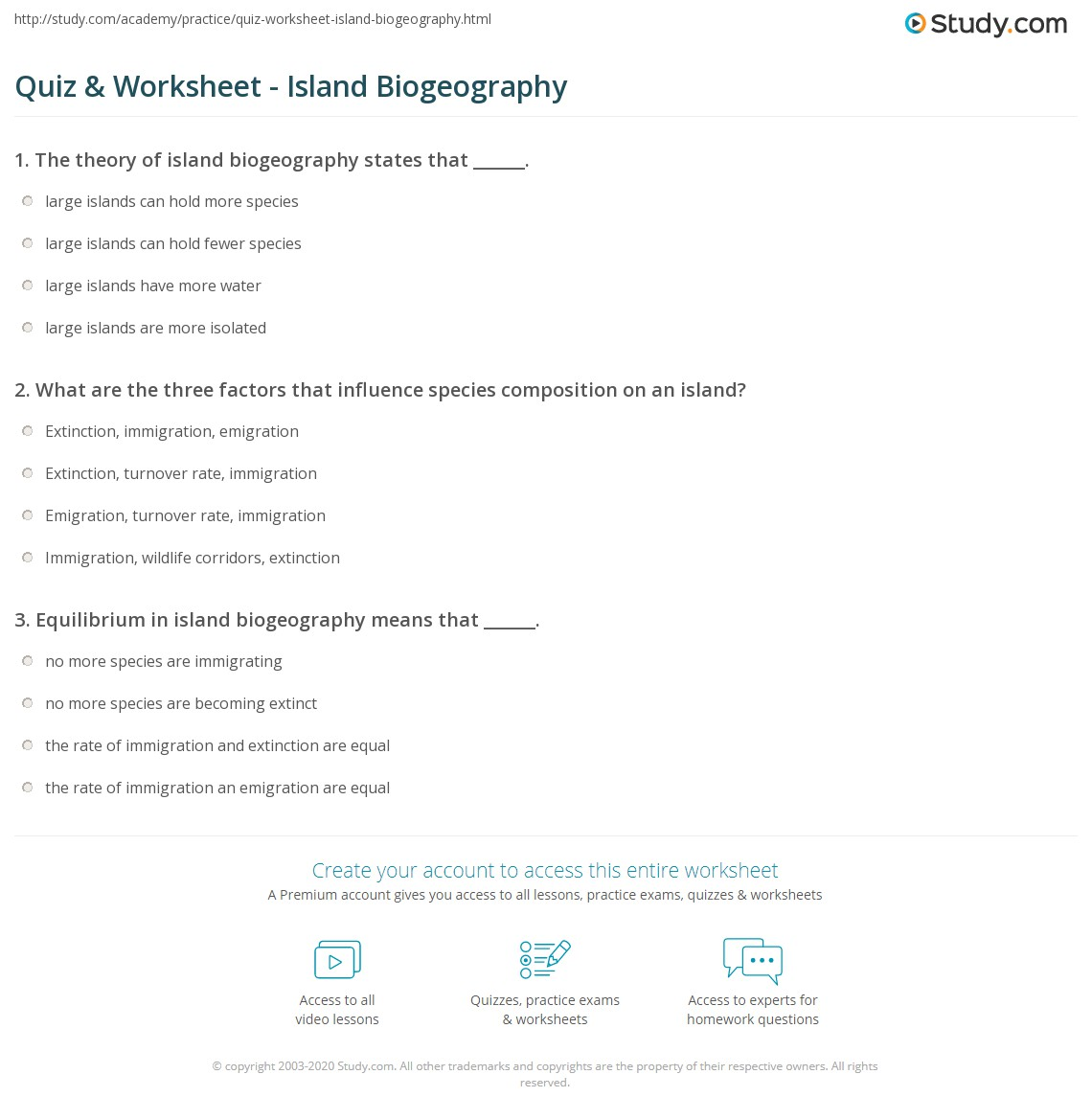 Quiz Worksheet Island Biogeography – Math Worksheet Island