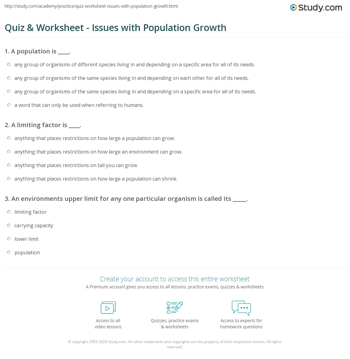 Quiz Worksheet Issues with Population Growth – Population Growth Worksheet