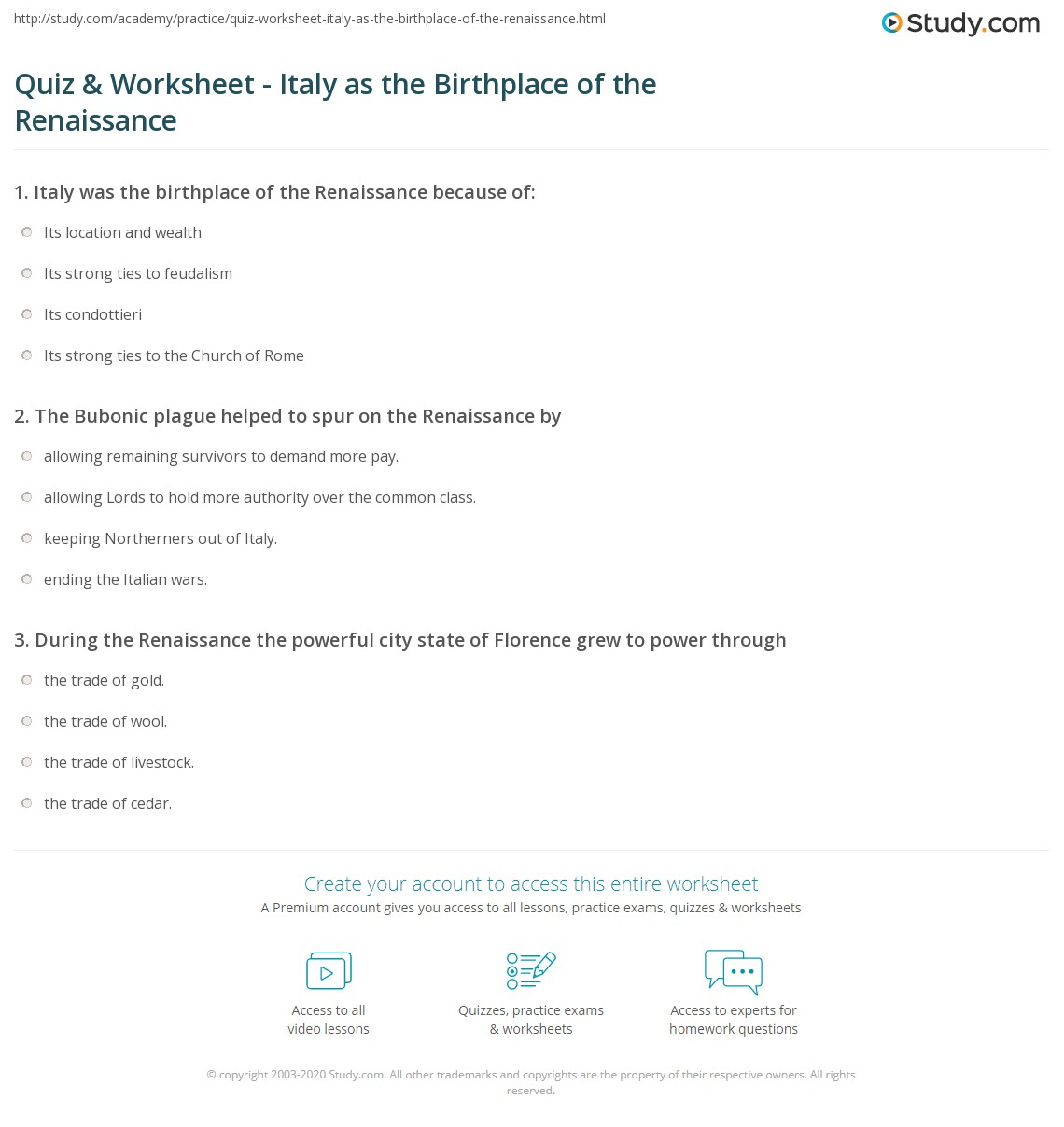 {Quiz Worksheet Italy as the Birthplace of the Renaissance – Renaissance Worksheets
