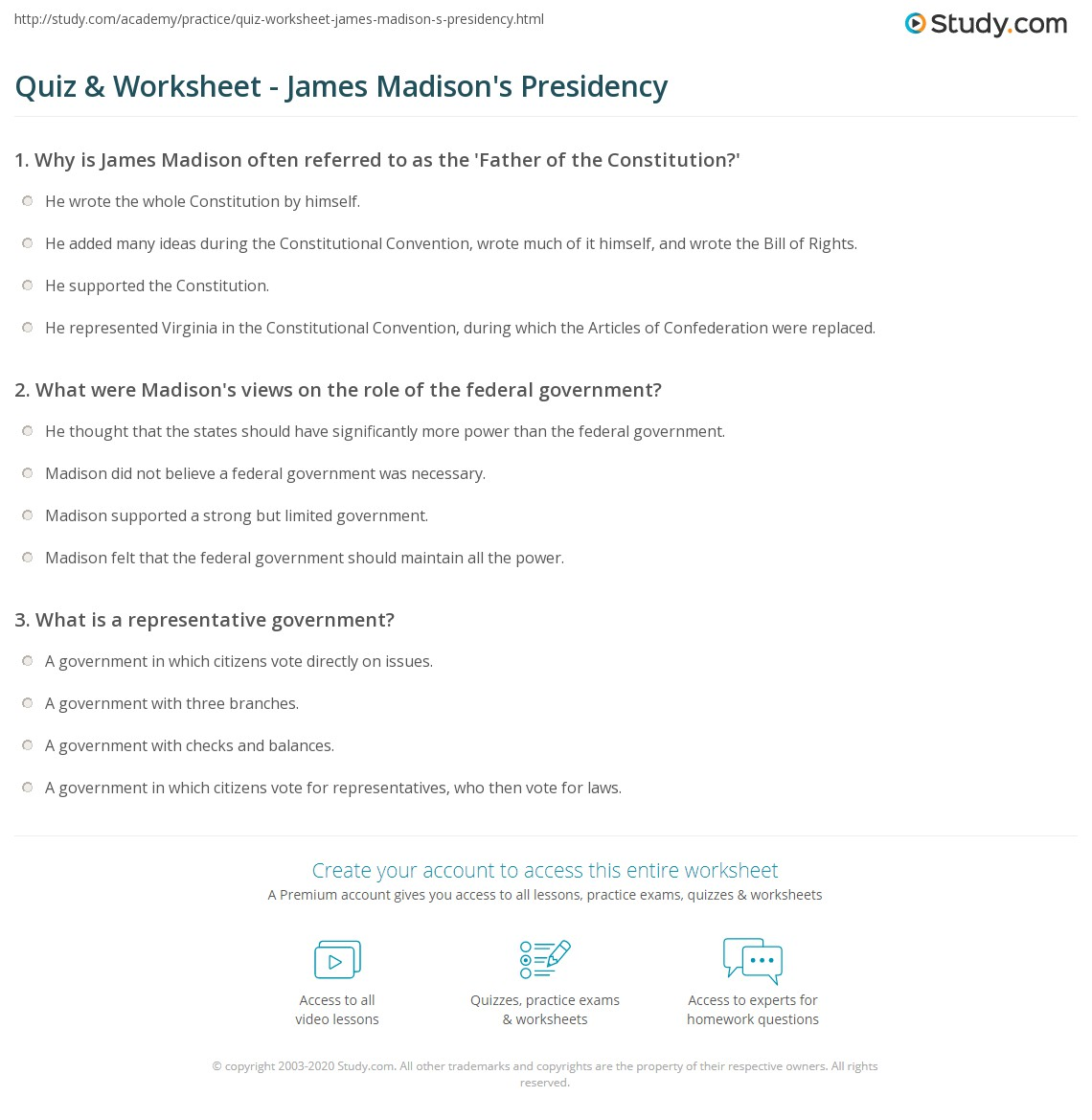 Worksheets Roles Of The President Worksheet quiz worksheet james madisons presidency study com print madison federalist president worksheet