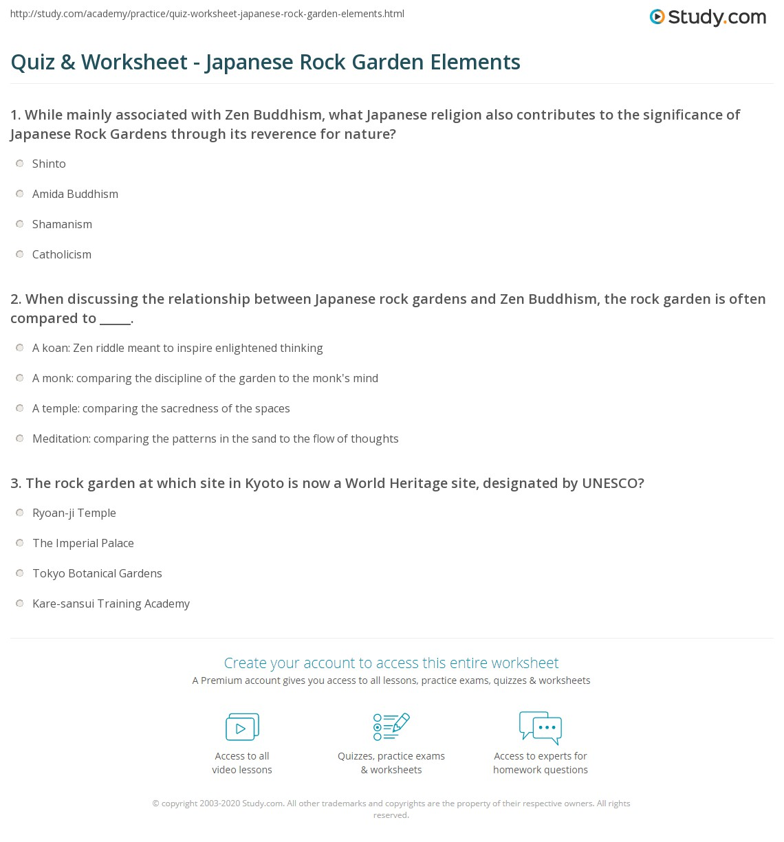 quiz worksheet japanese rock garden elements. Black Bedroom Furniture Sets. Home Design Ideas