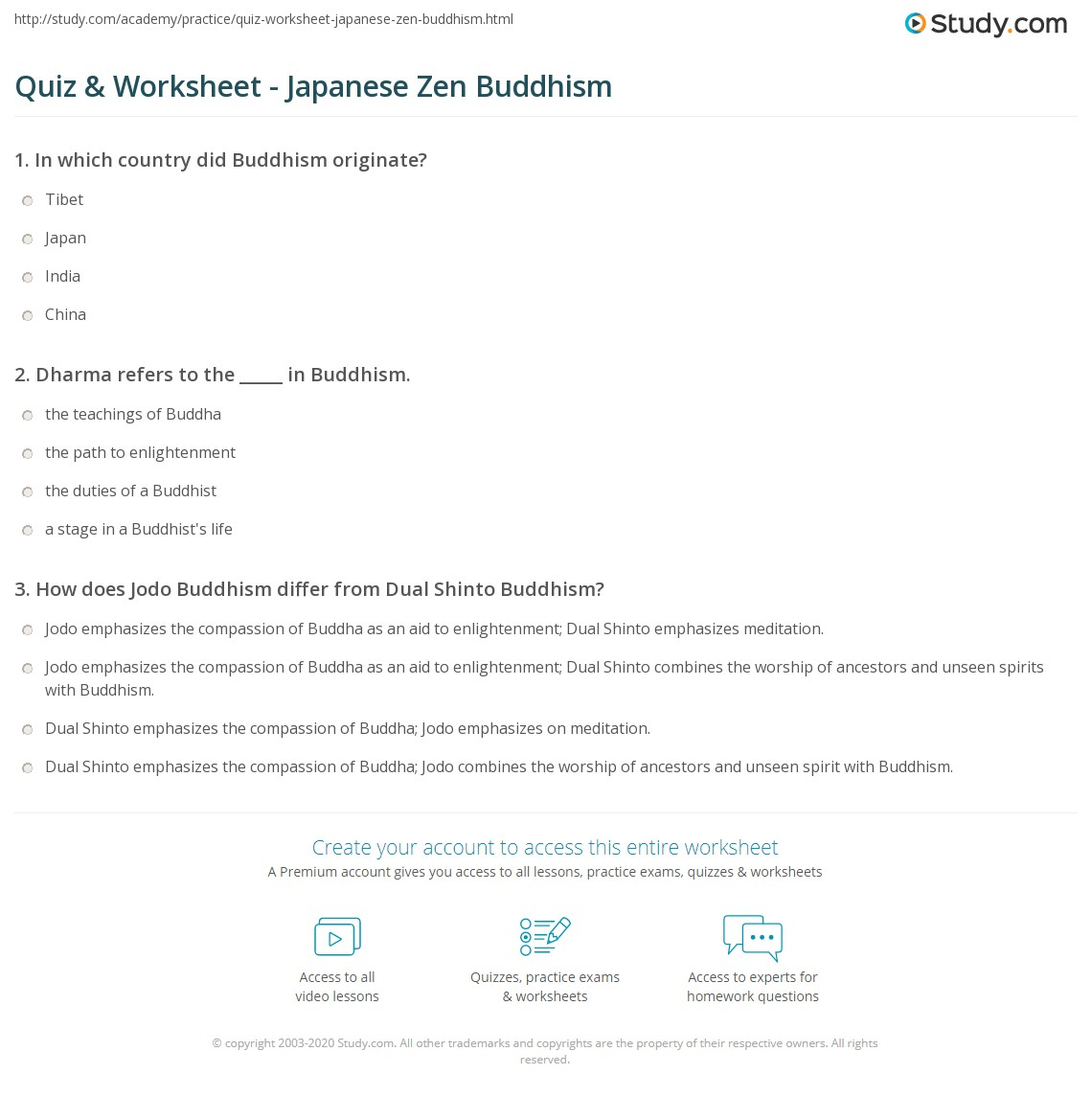 worksheet Japanese Worksheets quiz worksheet japanese zen buddhism study com print description branches revival worksheet