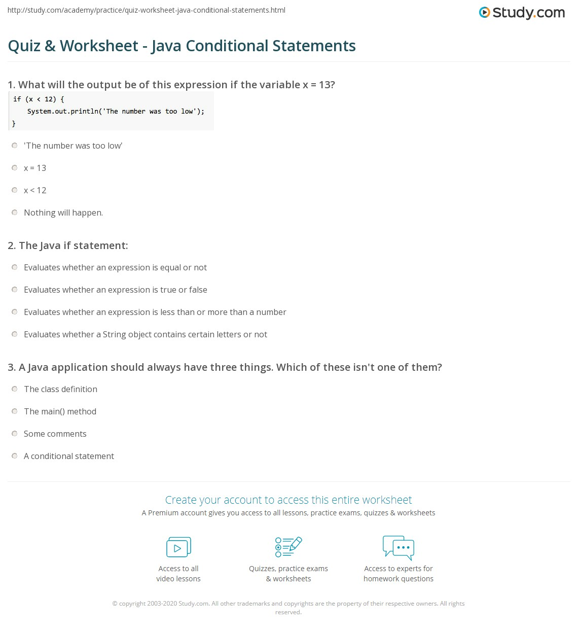 Printables Conditional Statements Worksheet quiz worksheet java conditional statements study com print if worksheet