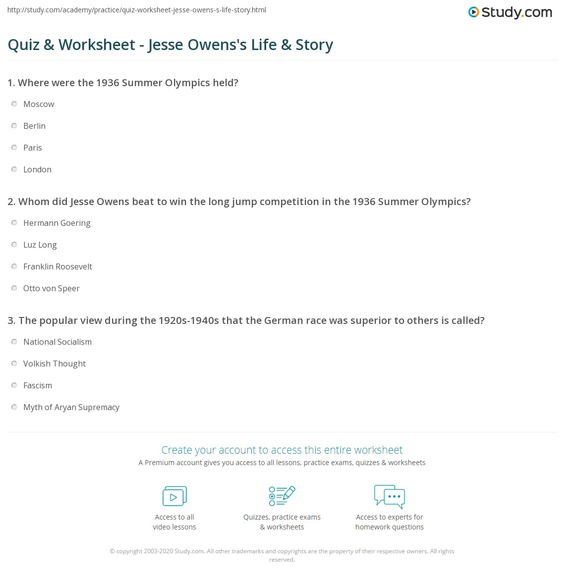 quiz worksheet jesse owens s life story com print jesse owens facts biography quotes worksheet