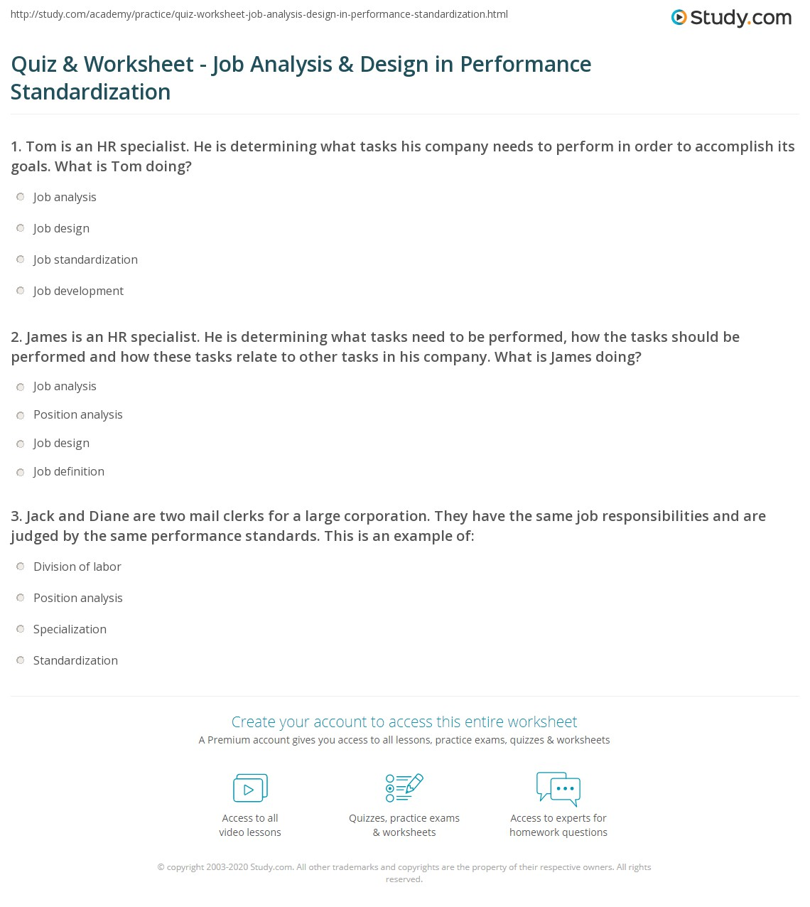 quiz worksheet job analysis design in performance print analysis design in performance standardization worksheet