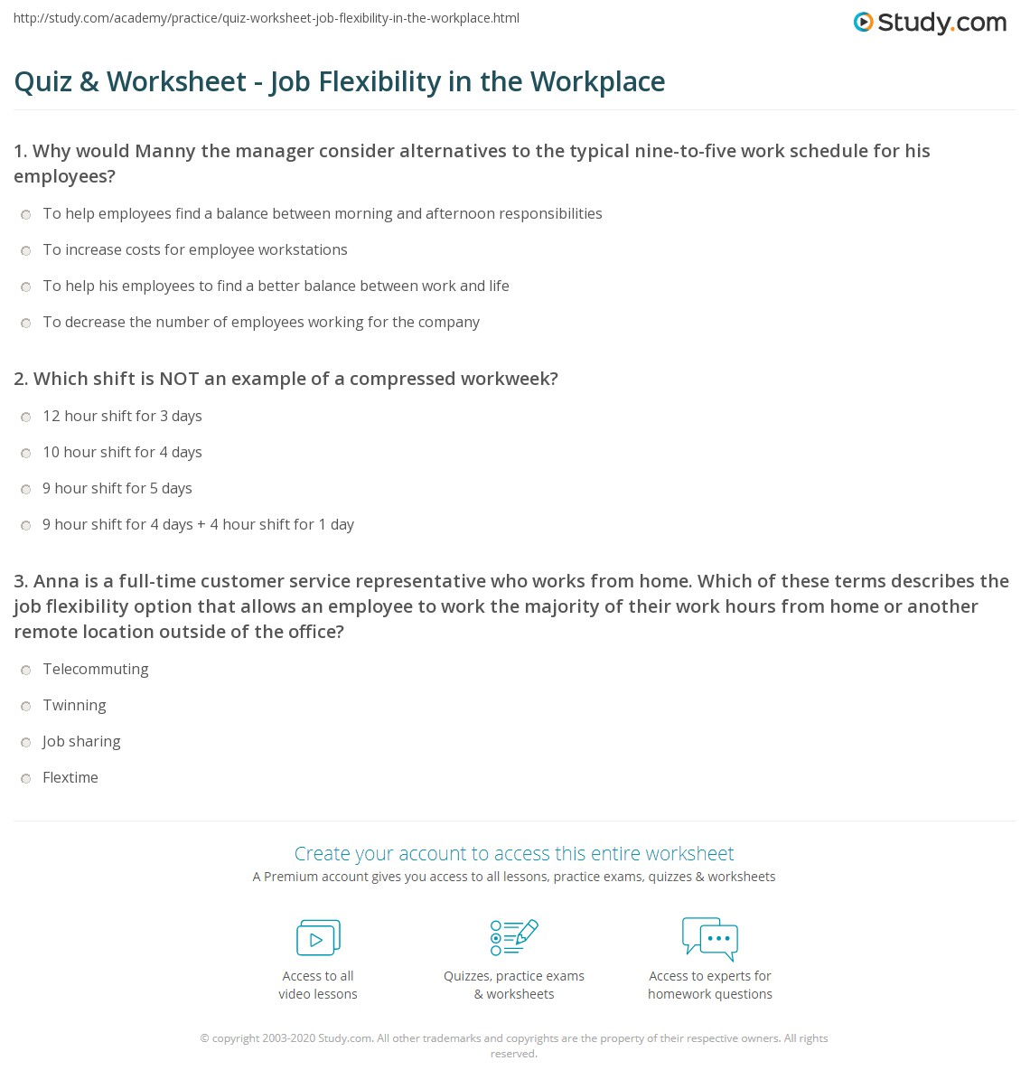quiz worksheet job flexibility in the workplace com print job flexibility in the workplace worksheet