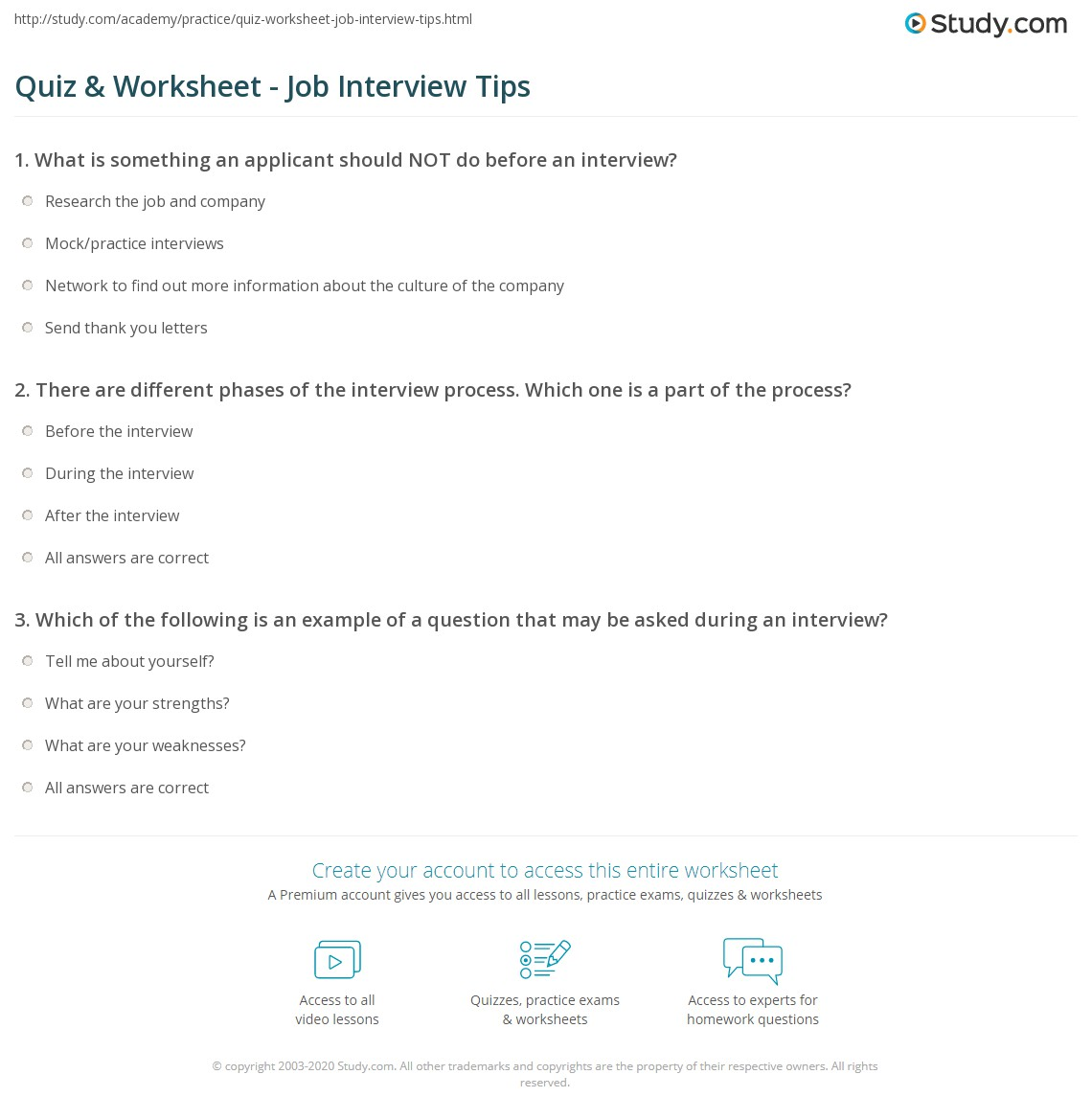 quiz worksheet job interview tips com print job interview tips questions thank you letters worksheet