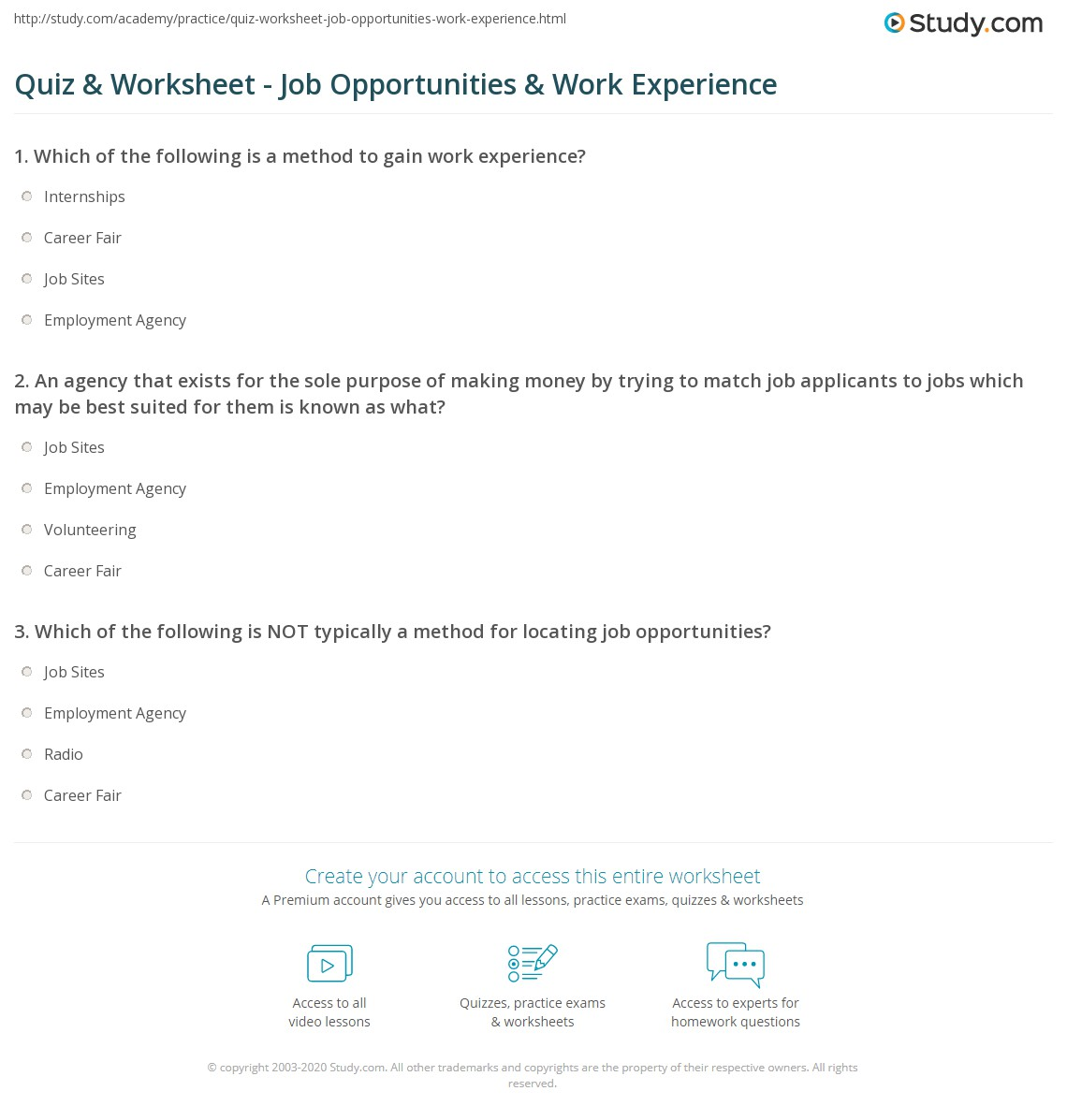 quiz worksheet job opportunities work experience study com print how to identify job opportunities gain work experience worksheet