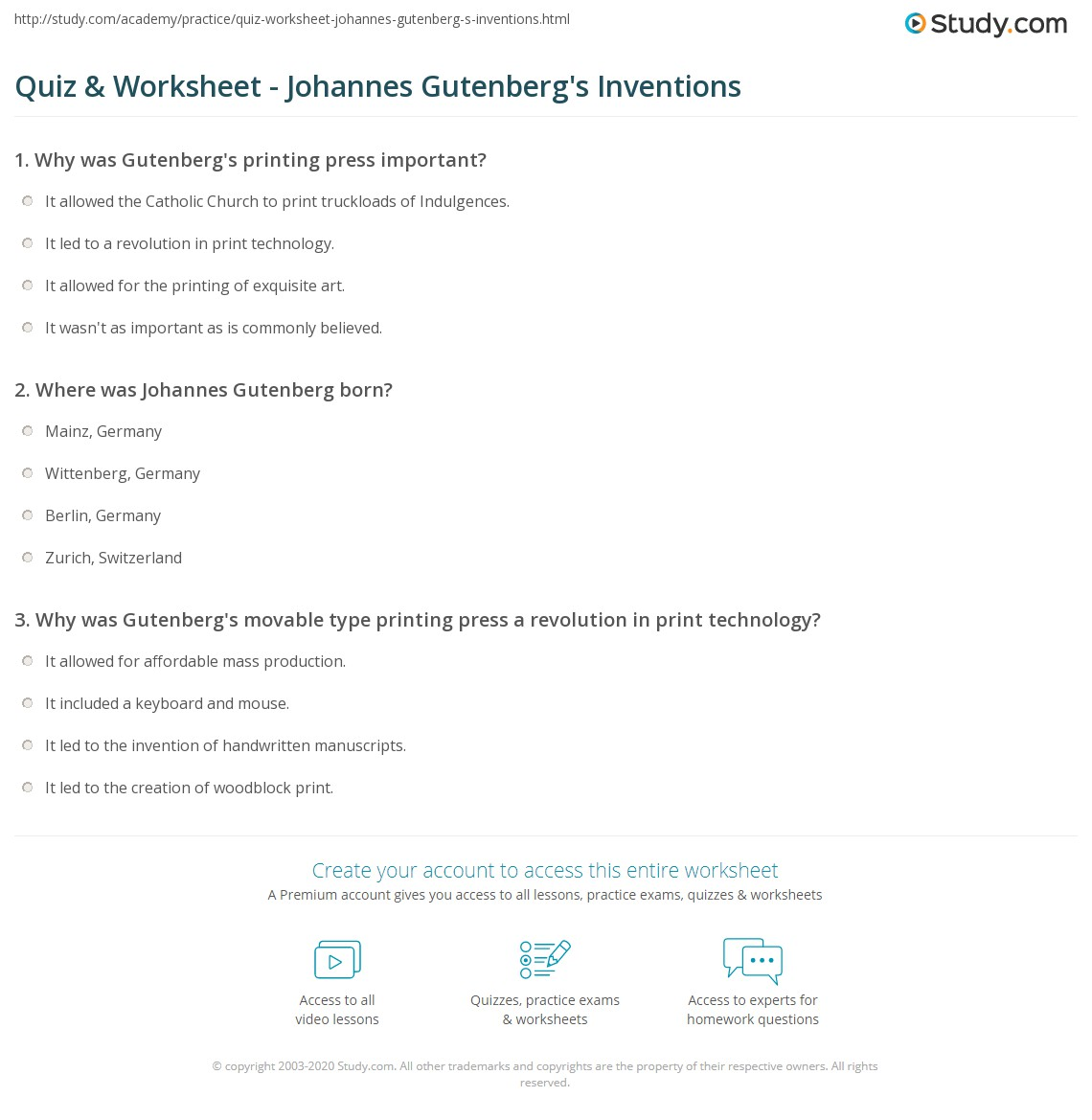 Weirdmailus  Gorgeous Quiz Amp Worksheet  Johannes Gutenbergs Inventions  Studycom With Exquisite Print Johannes Gutenberg Inventions Facts Amp Accomplishments Worksheet With Archaic Mole Mole Problems Worksheet Answers Also Printable Subtraction Worksheets In Addition Similes Worksheets And Free Monthly Budget Worksheet As Well As Math Homework Worksheets Additionally Nuclear Reaction Worksheet From Studycom With Weirdmailus  Exquisite Quiz Amp Worksheet  Johannes Gutenbergs Inventions  Studycom With Archaic Print Johannes Gutenberg Inventions Facts Amp Accomplishments Worksheet And Gorgeous Mole Mole Problems Worksheet Answers Also Printable Subtraction Worksheets In Addition Similes Worksheets From Studycom