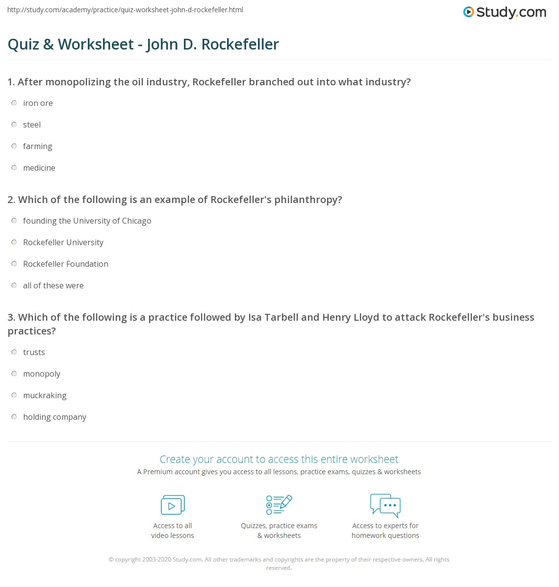 quiz worksheet john d rockefeller com print john d rockefeller biography facts timeline worksheet