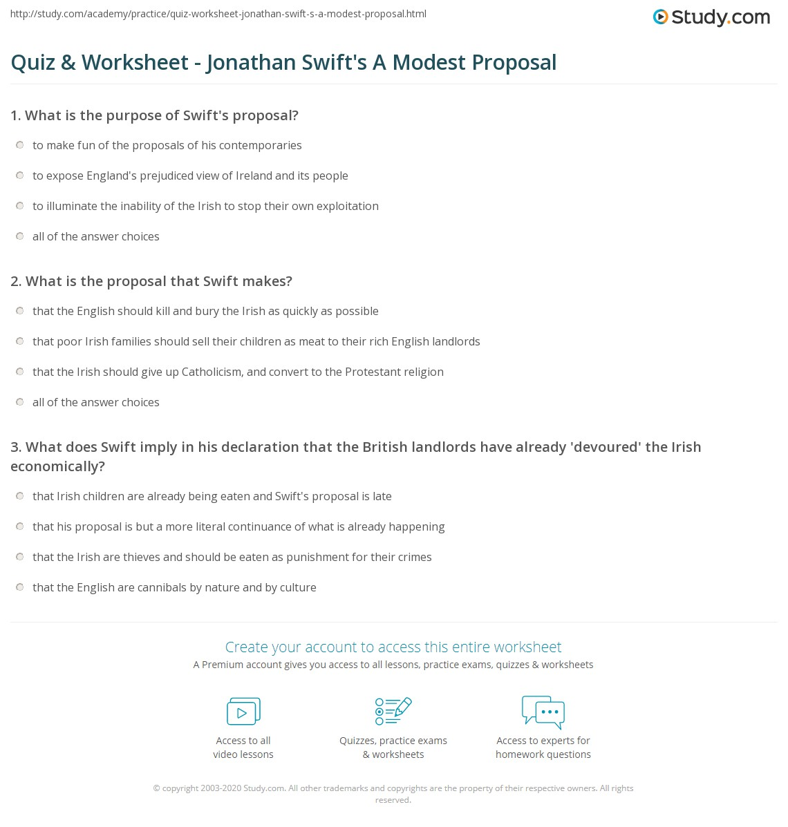 Quiz Amp Worksheet Jonathan Swifts A Modest Proposal Studycom Print  Jonathan Swifts A Modest Proposal Summary