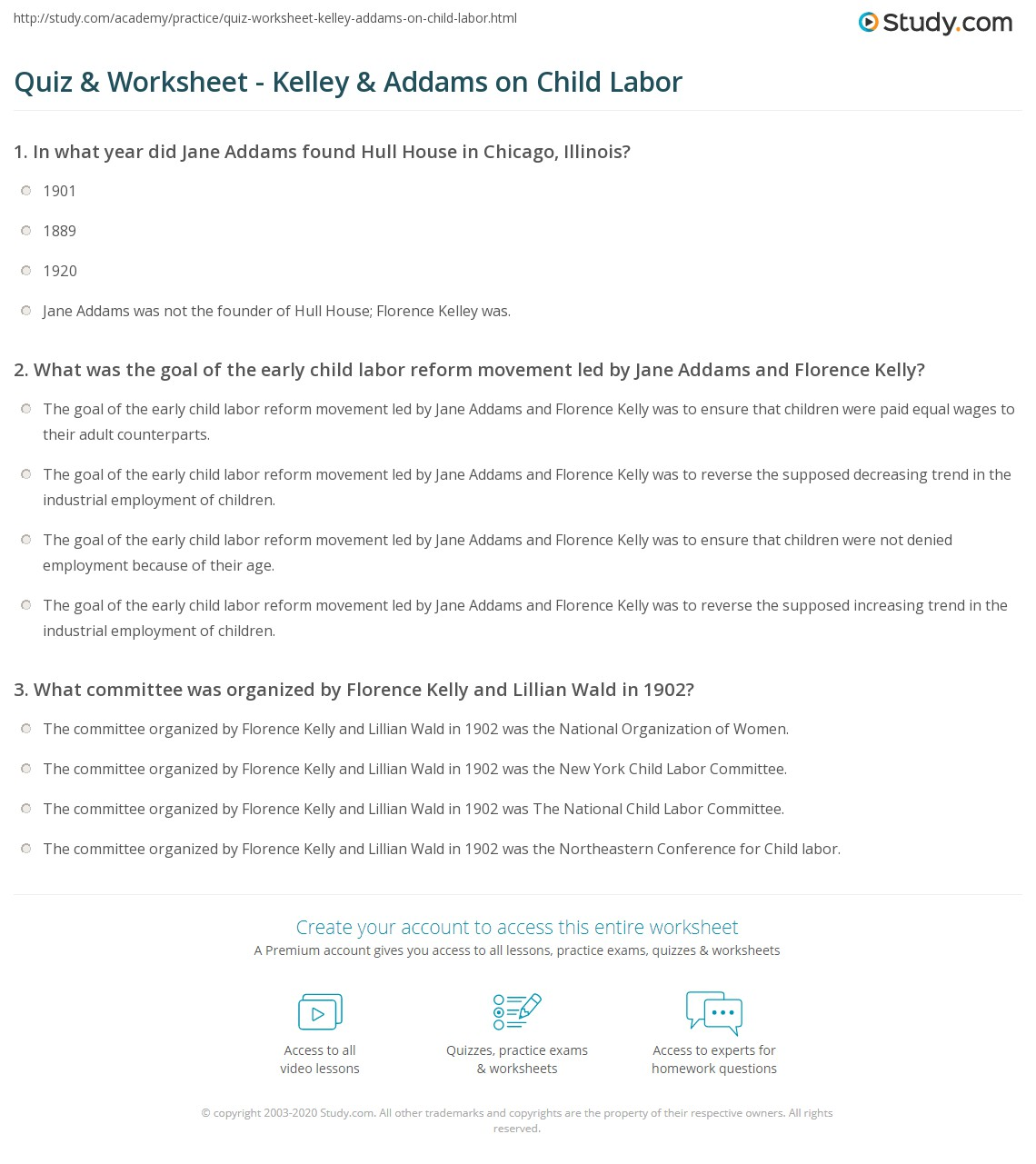 quiz & worksheet - kelley & addams on child labor | study