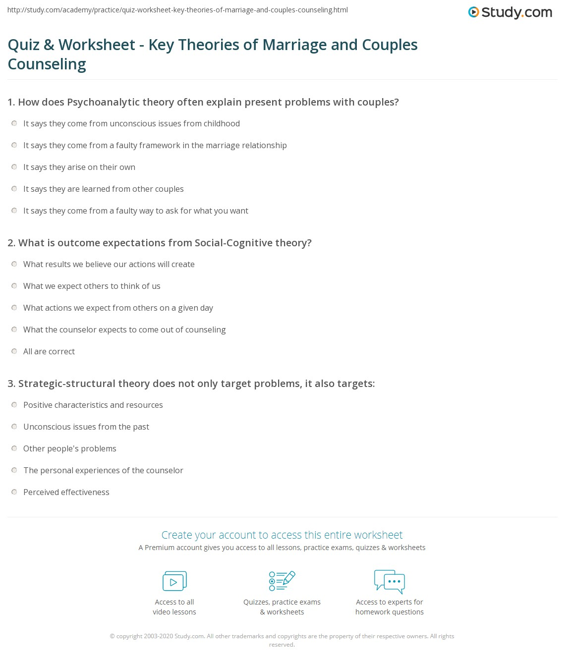 Printables Marriage Counseling Worksheets quiz worksheet key theories of marriage and couples counseling print worksheet