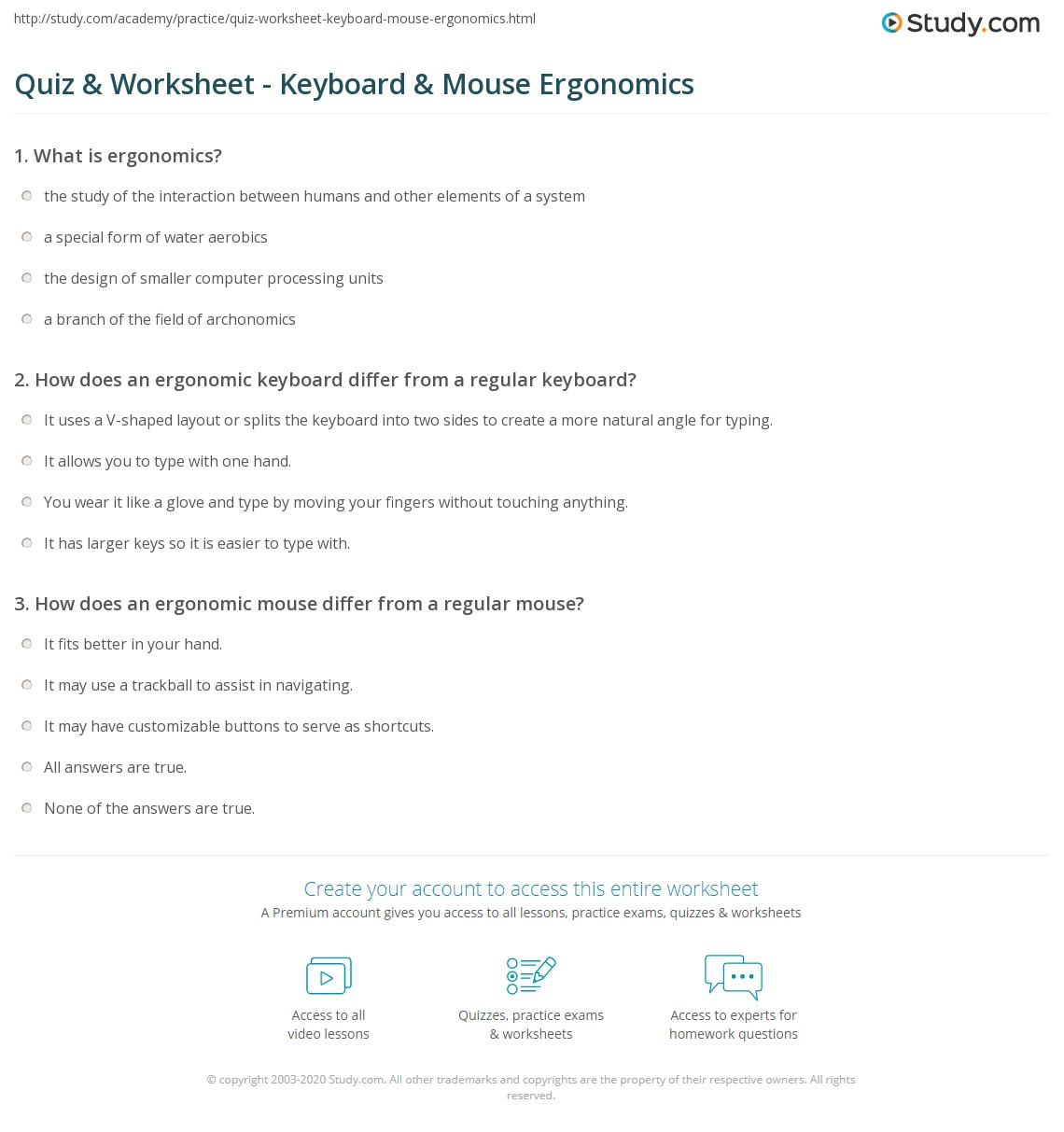 quiz worksheet keyboard mouse ergonomics. Black Bedroom Furniture Sets. Home Design Ideas