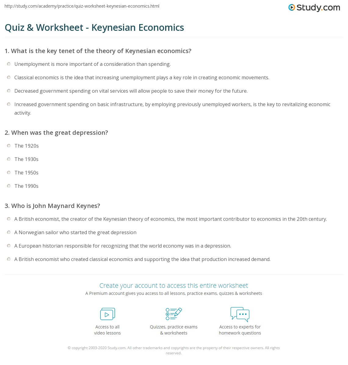 worksheet Causes Of The Great Depression Worksheet quiz worksheet keynesian economics study com when was the great depression
