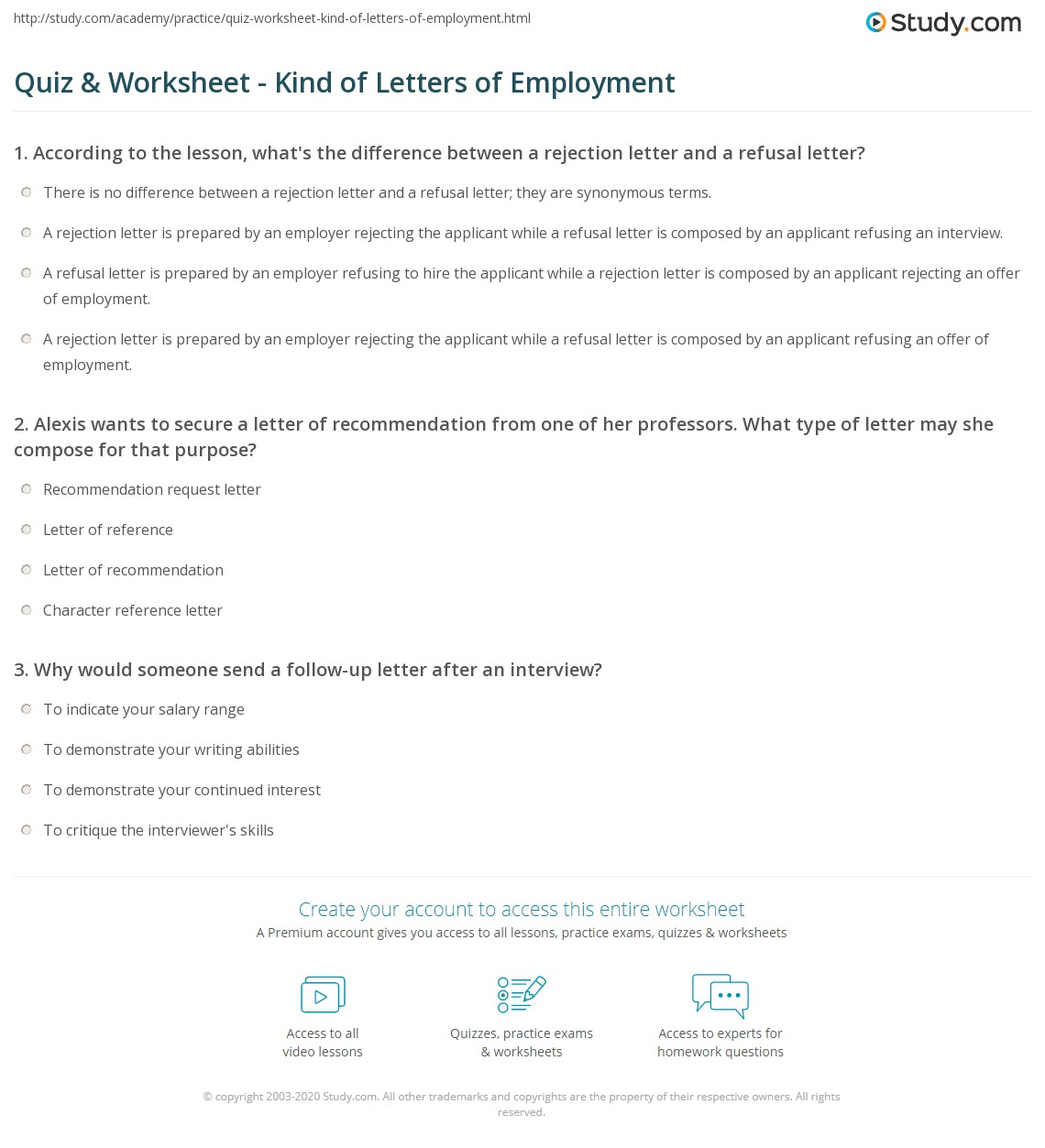 Quiz Worksheet Kind of Letters of Employment – Refusal Letter