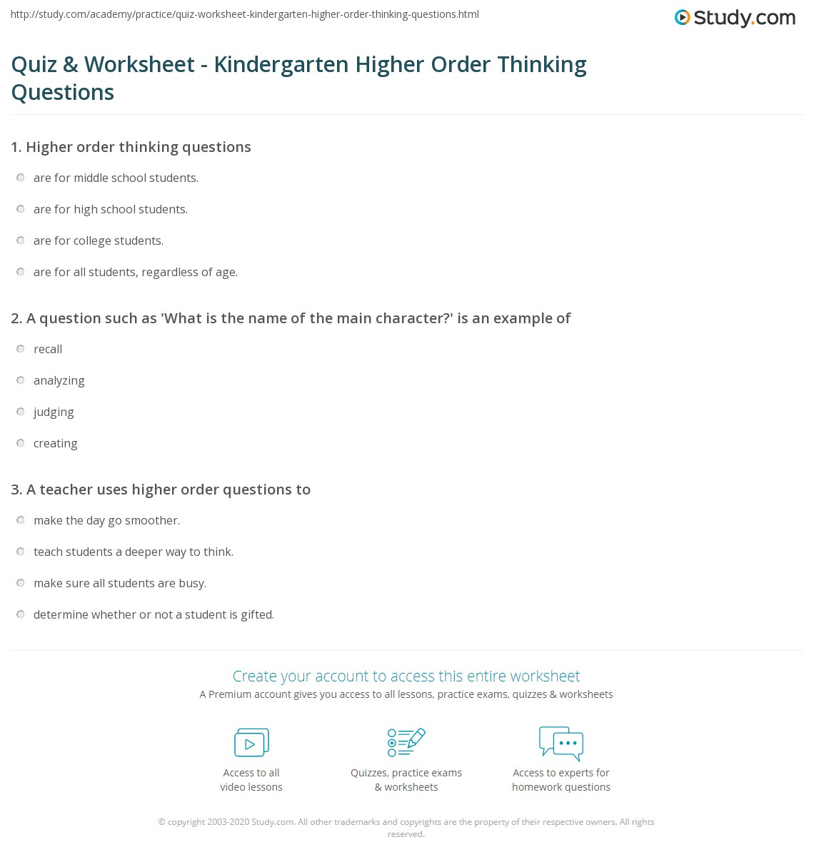 Worksheets Questions For Kindergarten quiz worksheet kindergarten higher order thinking questions print for kindergartners worksheet