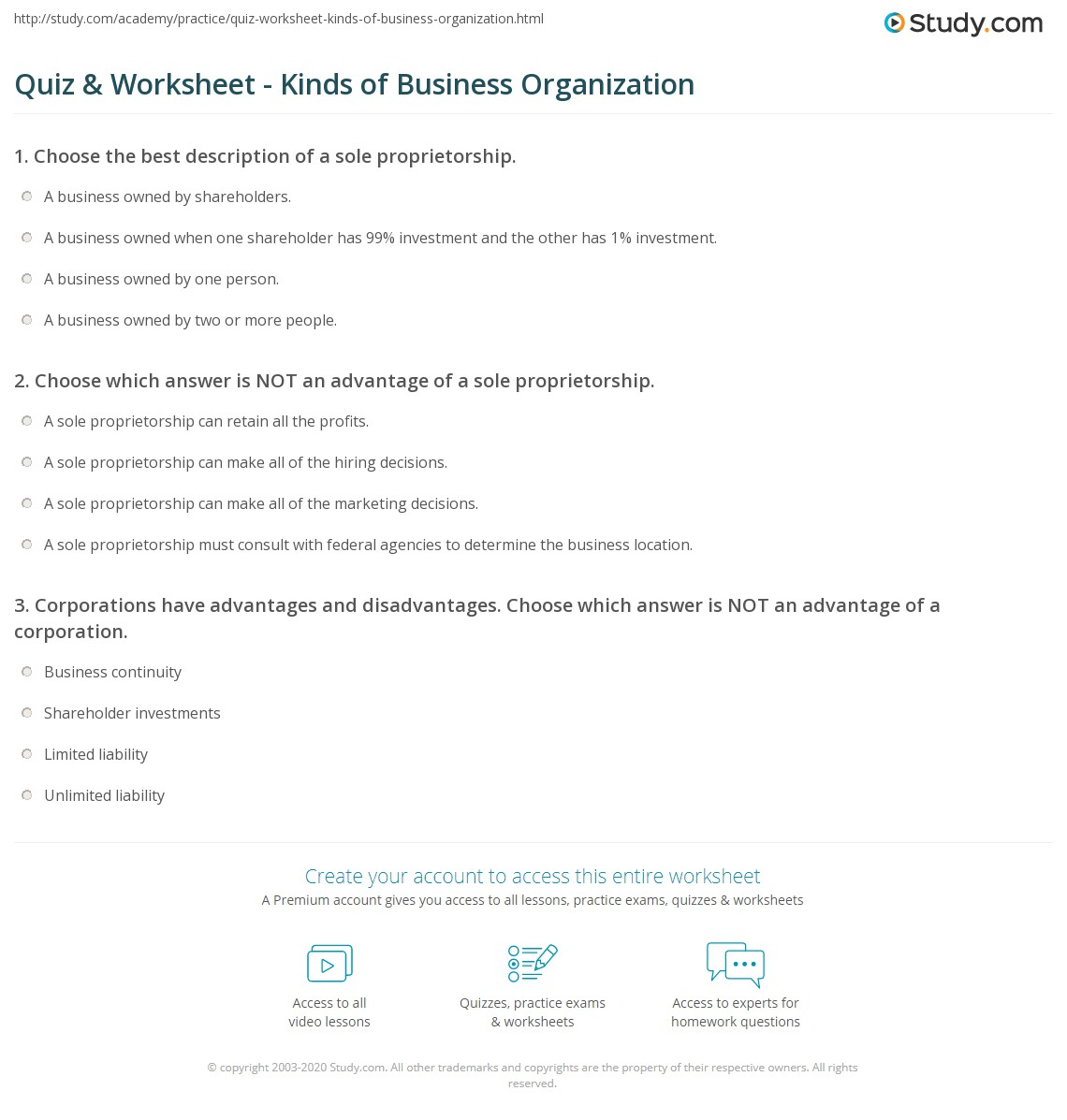 quiz worksheet kinds of business organization study com print types of business organizations advantages disadvantages worksheet
