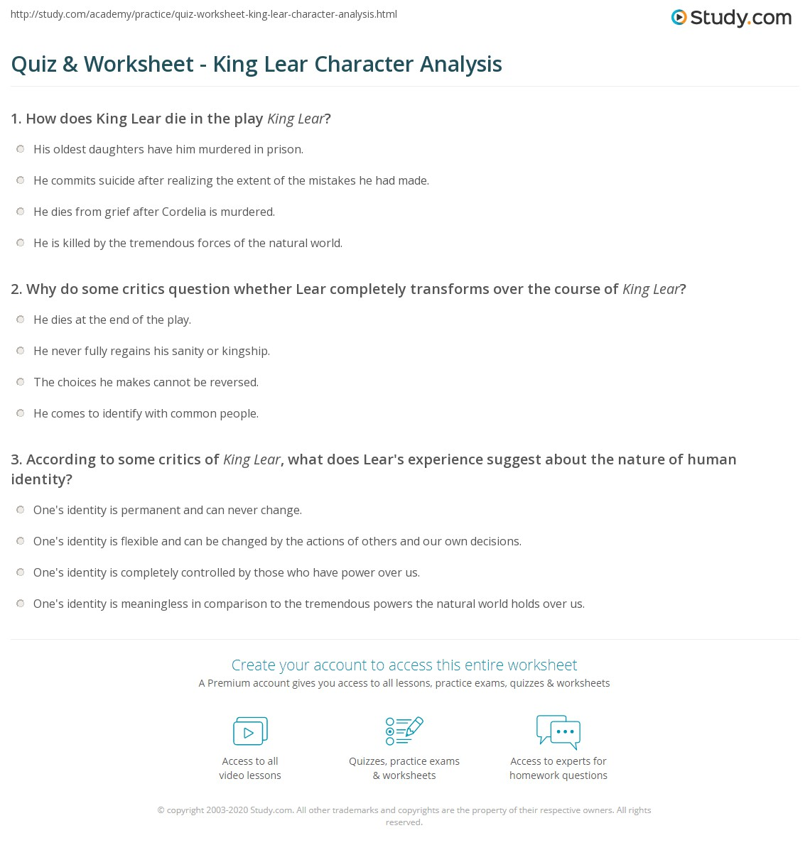 Quiz Worksheet King Lear Character Analysis – Character Sketch Worksheet
