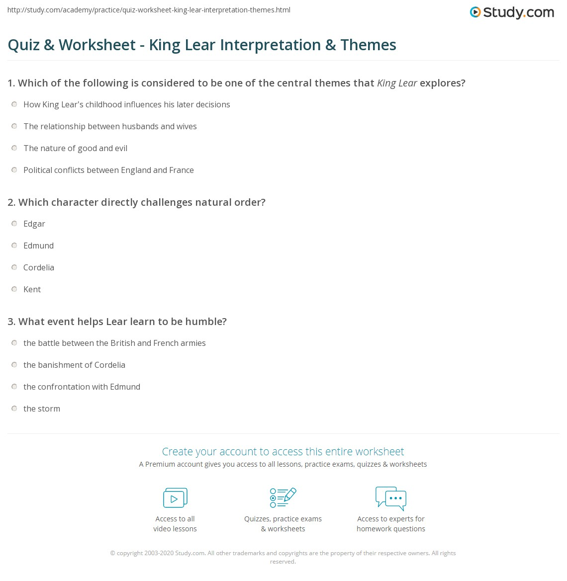 king lear essays visual essay king lear quiz worksheet king lear  quiz worksheet king lear interpretation themes com print king lear themes analysis worksheet