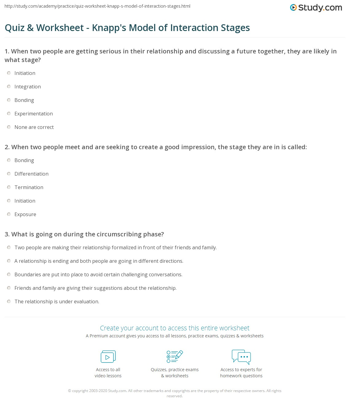 Quiz Worksheet Knapps Model of Interaction Stages – Boundaries in Relationships Worksheet