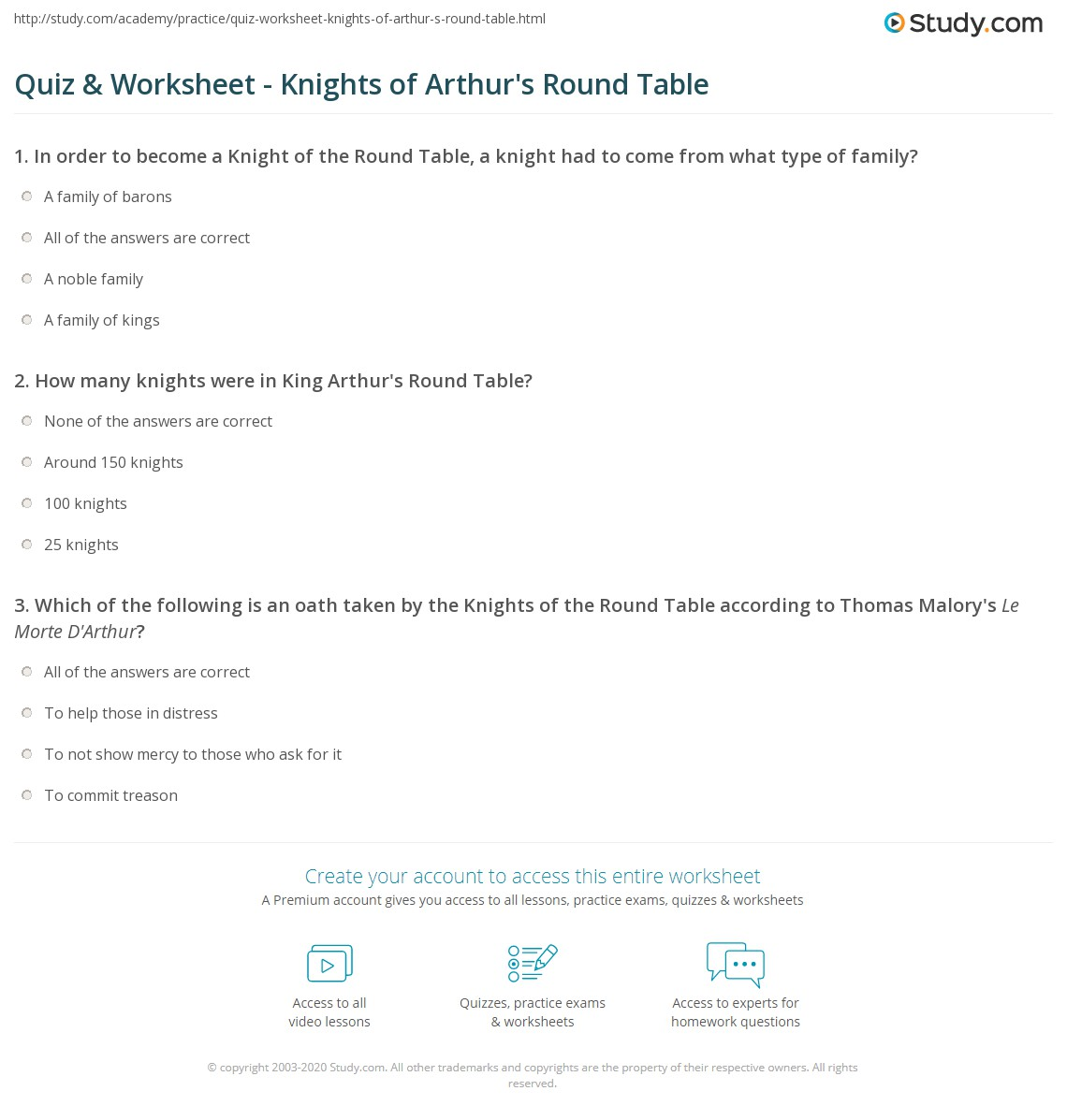 quiz worksheet knights of arthur s round table com print knights of arthur s round table legend overview worksheet