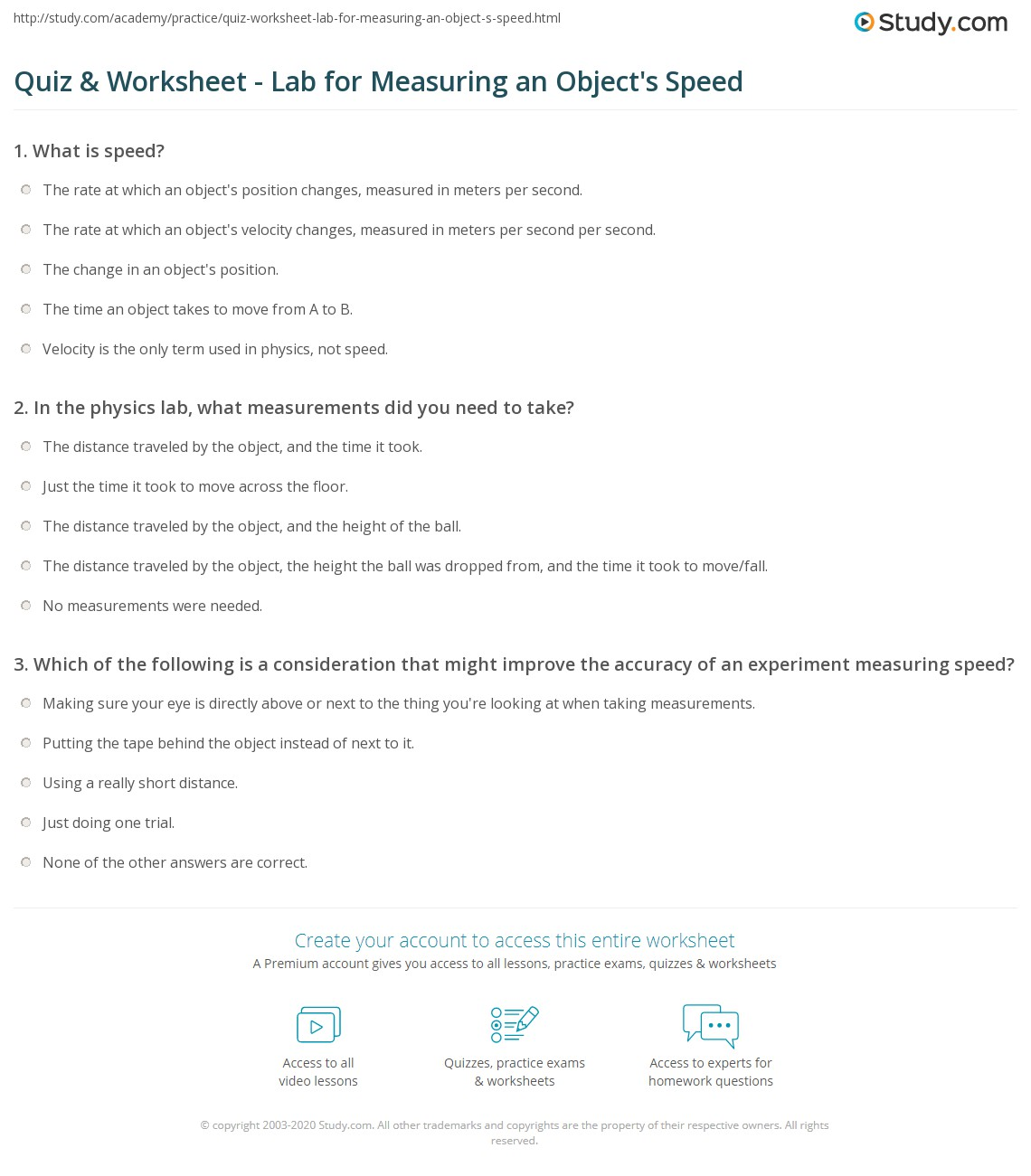 Quiz Worksheet Lab for Measuring an Objects Speed – Motion and Speed Worksheet