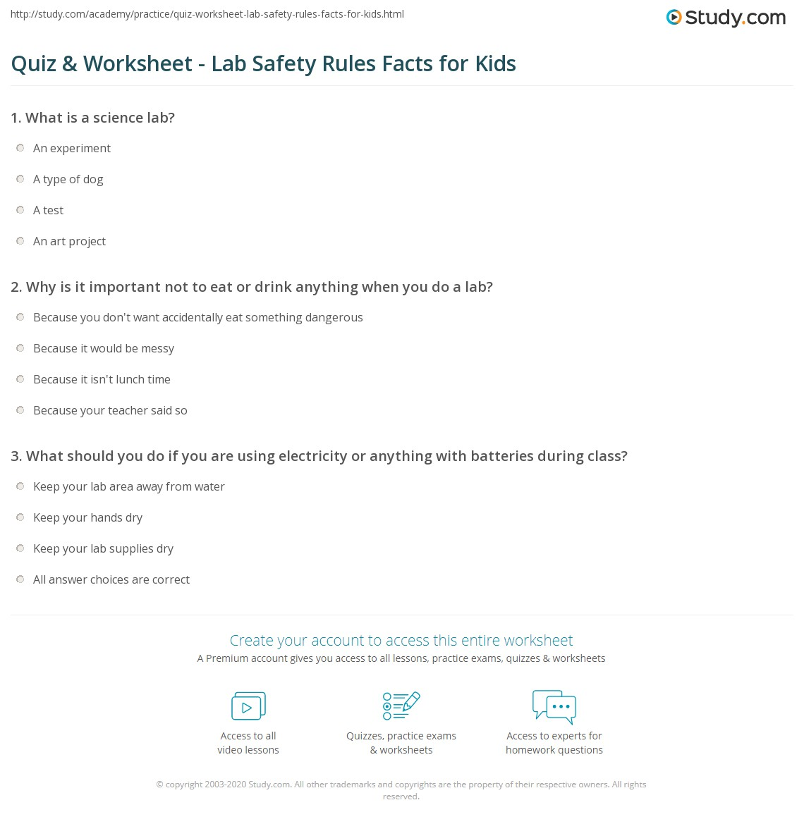 Printables Lab Safety Rules Worksheet quiz worksheet lab safety rules facts for kids study com print lesson worksheet