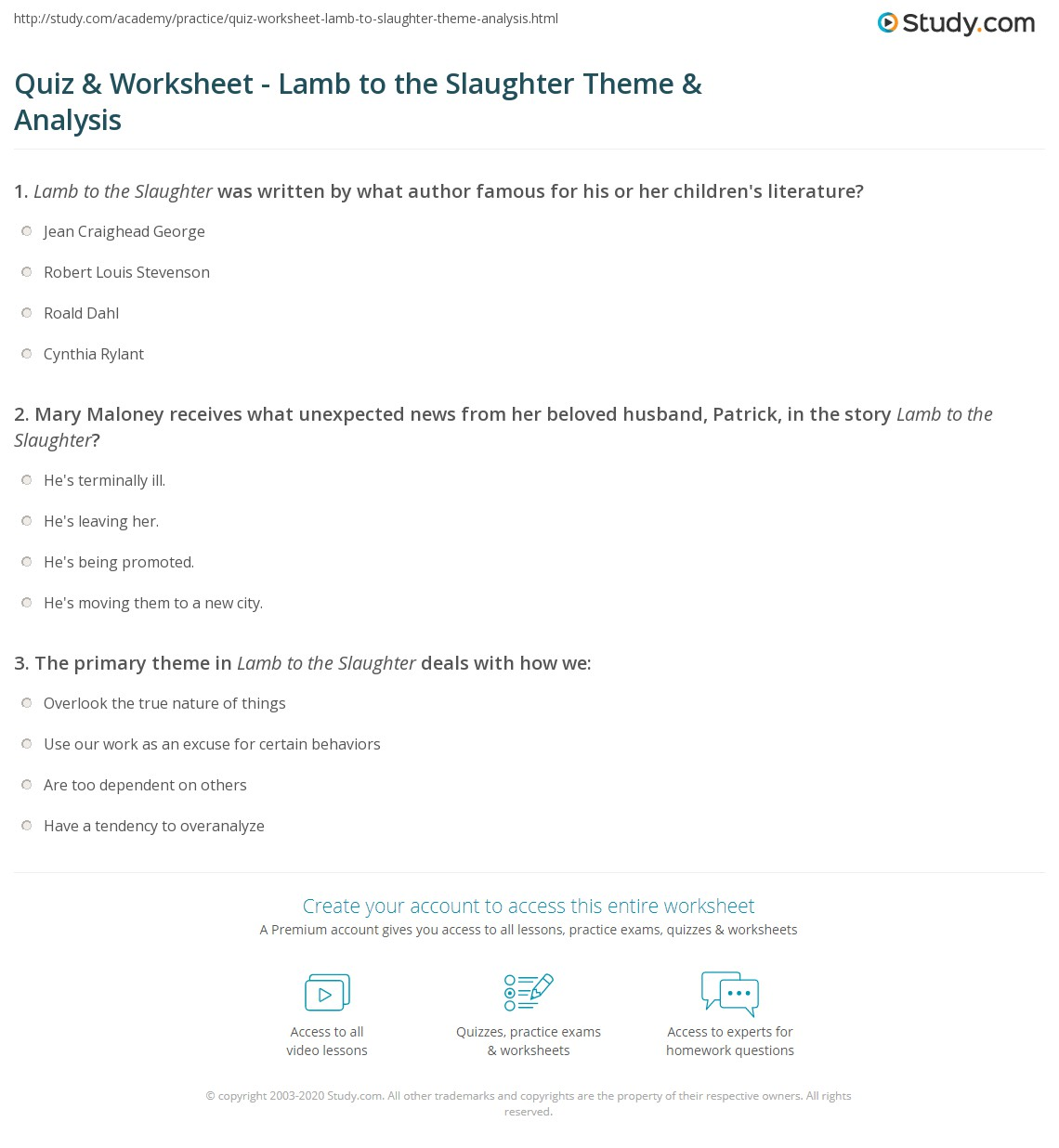 lamb to the slaughter worksheets delibertad quiz worksheet lamb to the slaughter theme analysis study com
