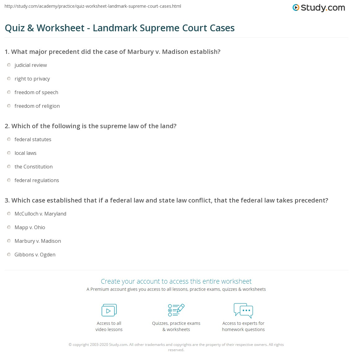 Worksheets Landmark Supreme Court Cases Worksheet quiz worksheet landmark supreme court cases study com print based on constitutional articles worksheet