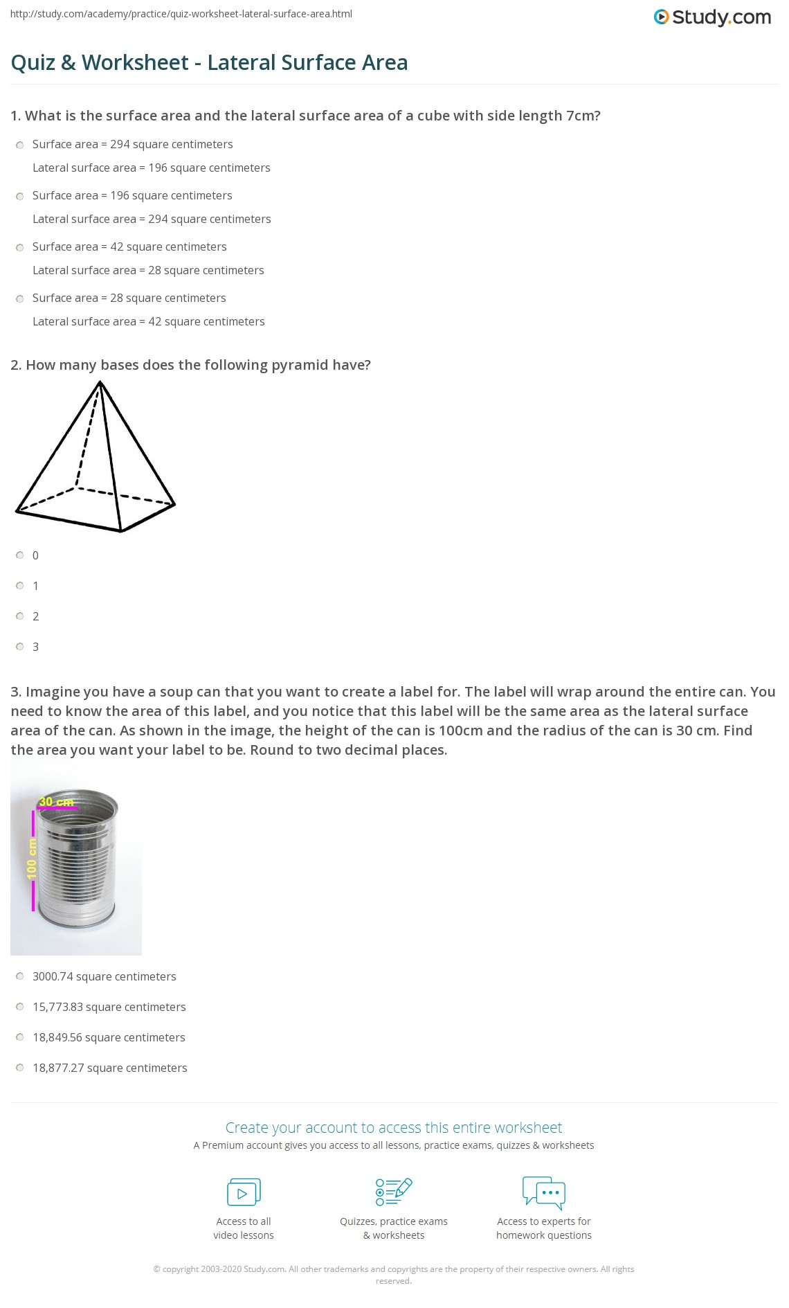 Print Lateral Surface Area: Definition & Formula Worksheet Quiz & Worksheet  Lateral Surface Area Study