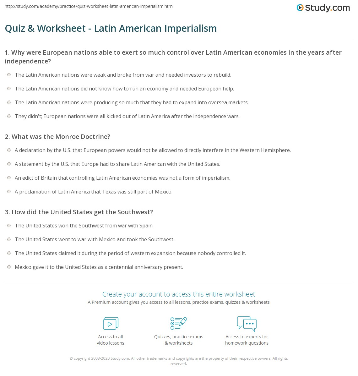Quiz Worksheet Latin American Imperialism – Monroe Doctrine Worksheet