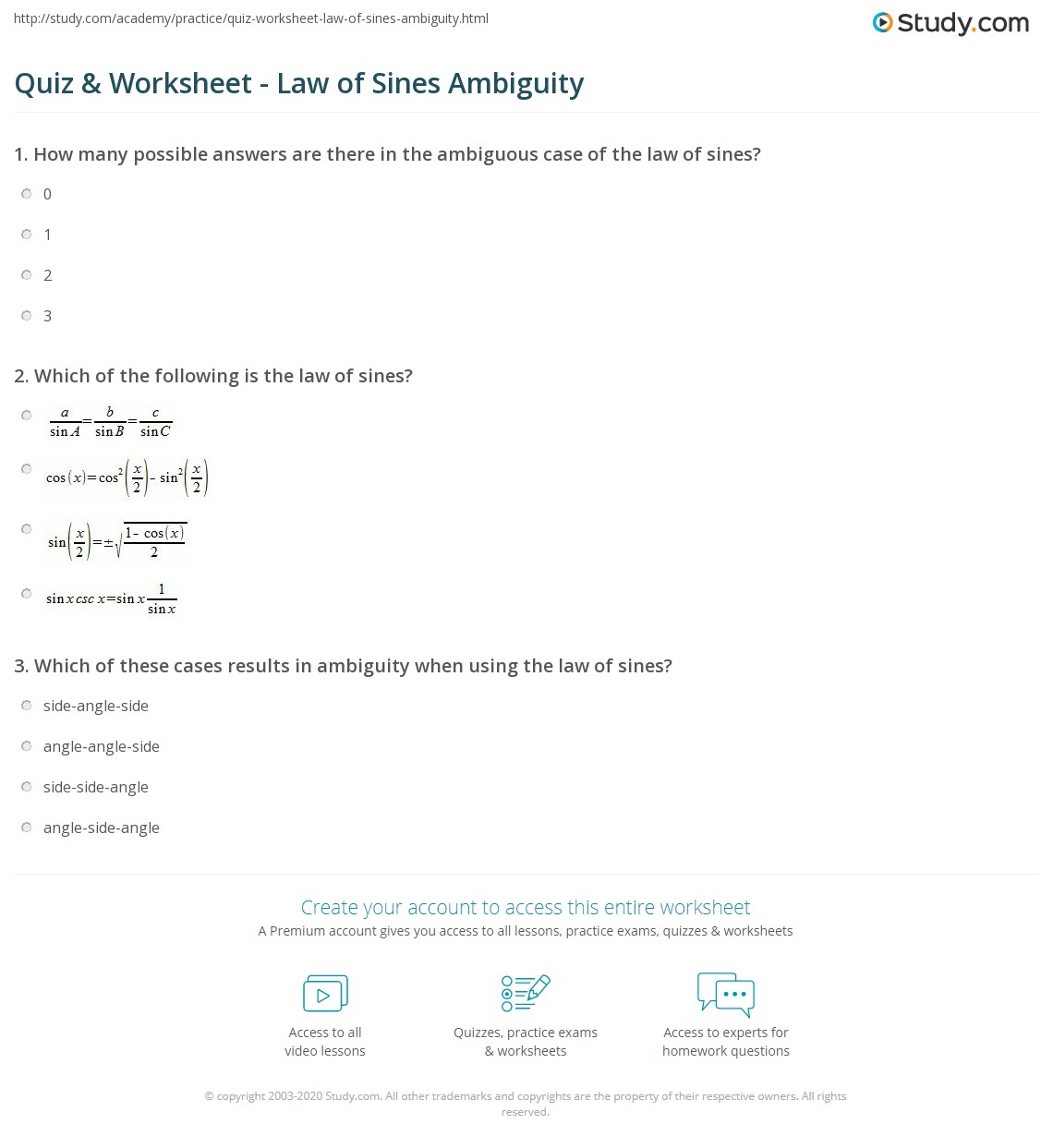 Quiz Worksheet Law of Sines Ambiguity – Law of Cosine Worksheet