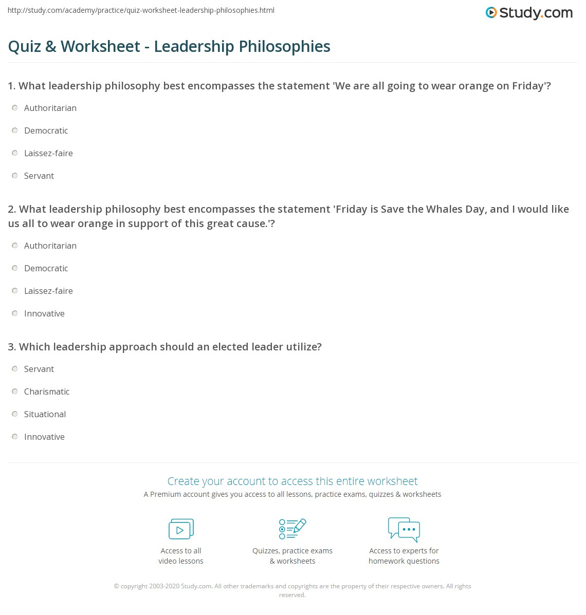 Quiz & Worksheet - Leadership Philosophies | Study.com