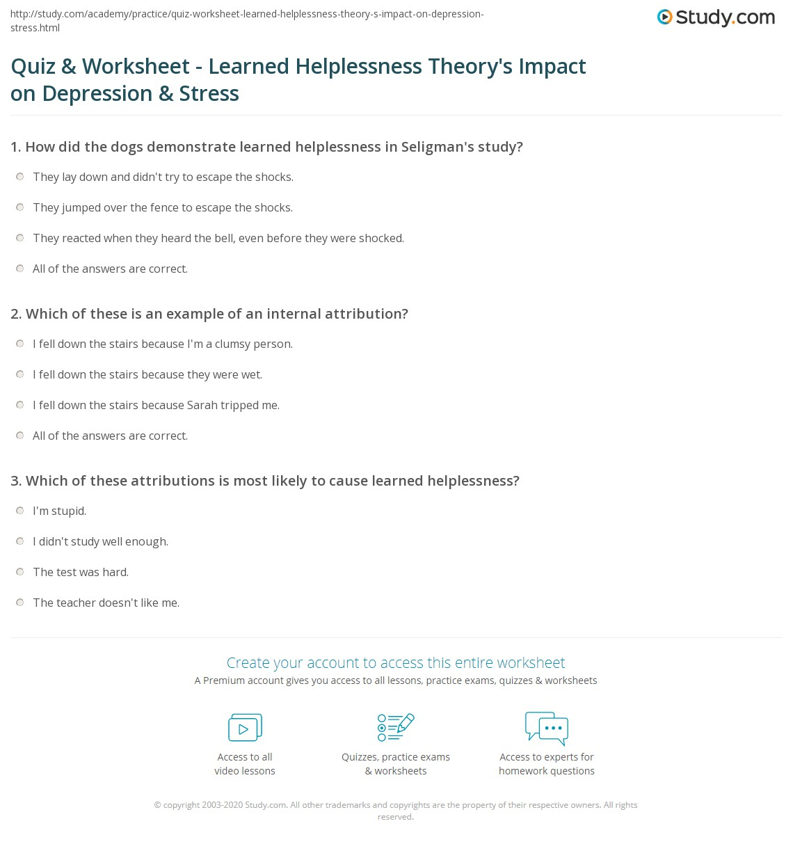 Quiz Worksheet Learned Helplessness Theorys Impact on – Depression Worksheets