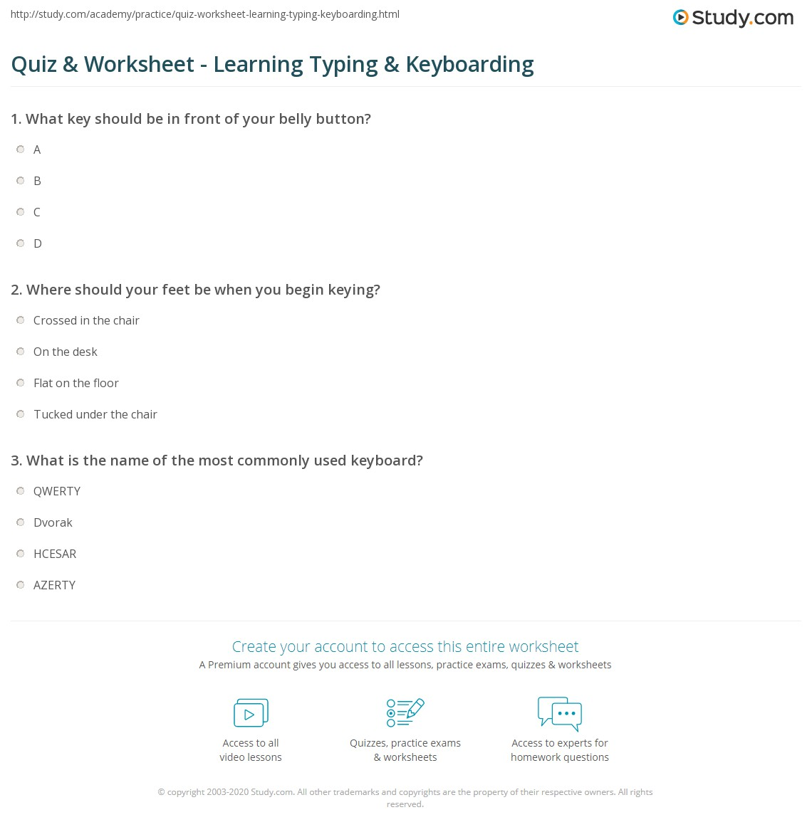 Printables Typing Practice Worksheets quiz worksheet learning typing keyboarding study com print how to learn type worksheet