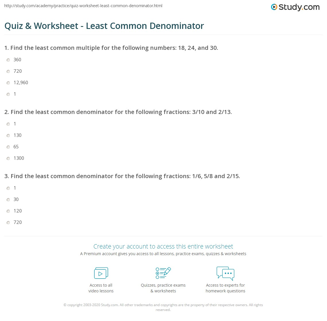 Quiz & Worksheet - Least Common Denominator | Study.com