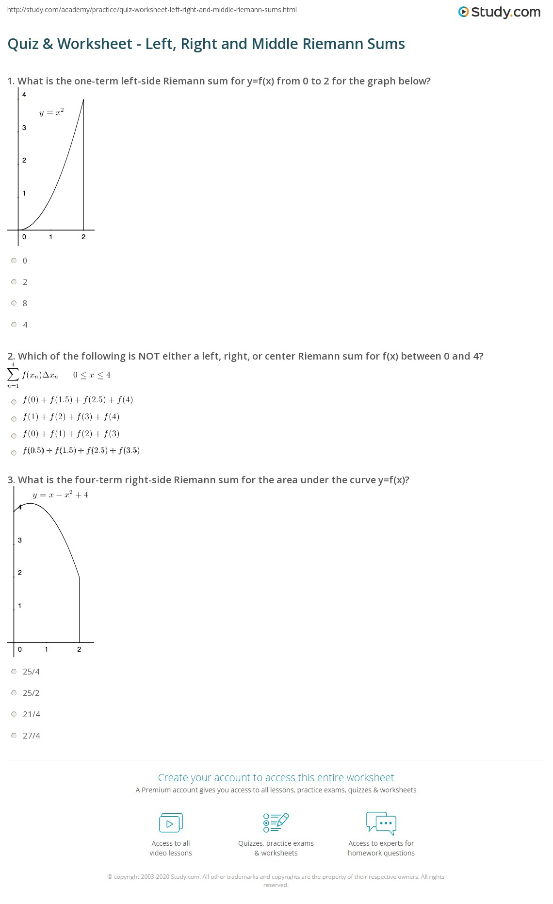 Quiz Worksheet Left Right and Middle Riemann Sums – Riemann Sum Worksheet