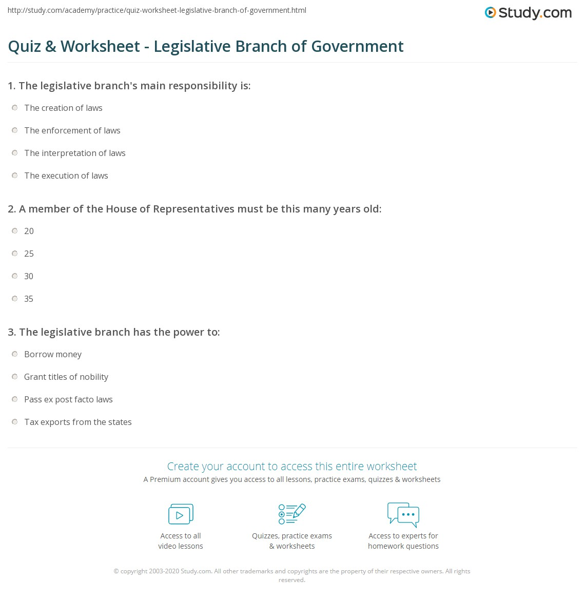 Quiz Worksheet Legislative Branch of Government – Us Government Worksheets