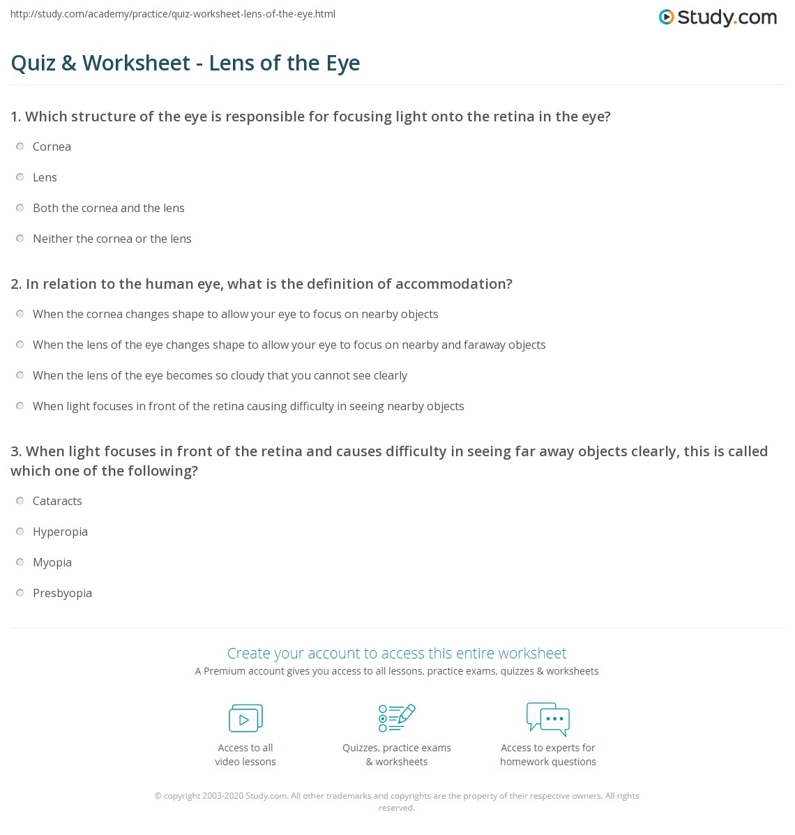 Quiz Worksheet Lens of the Eye – Structure of the Human Eye Worksheet