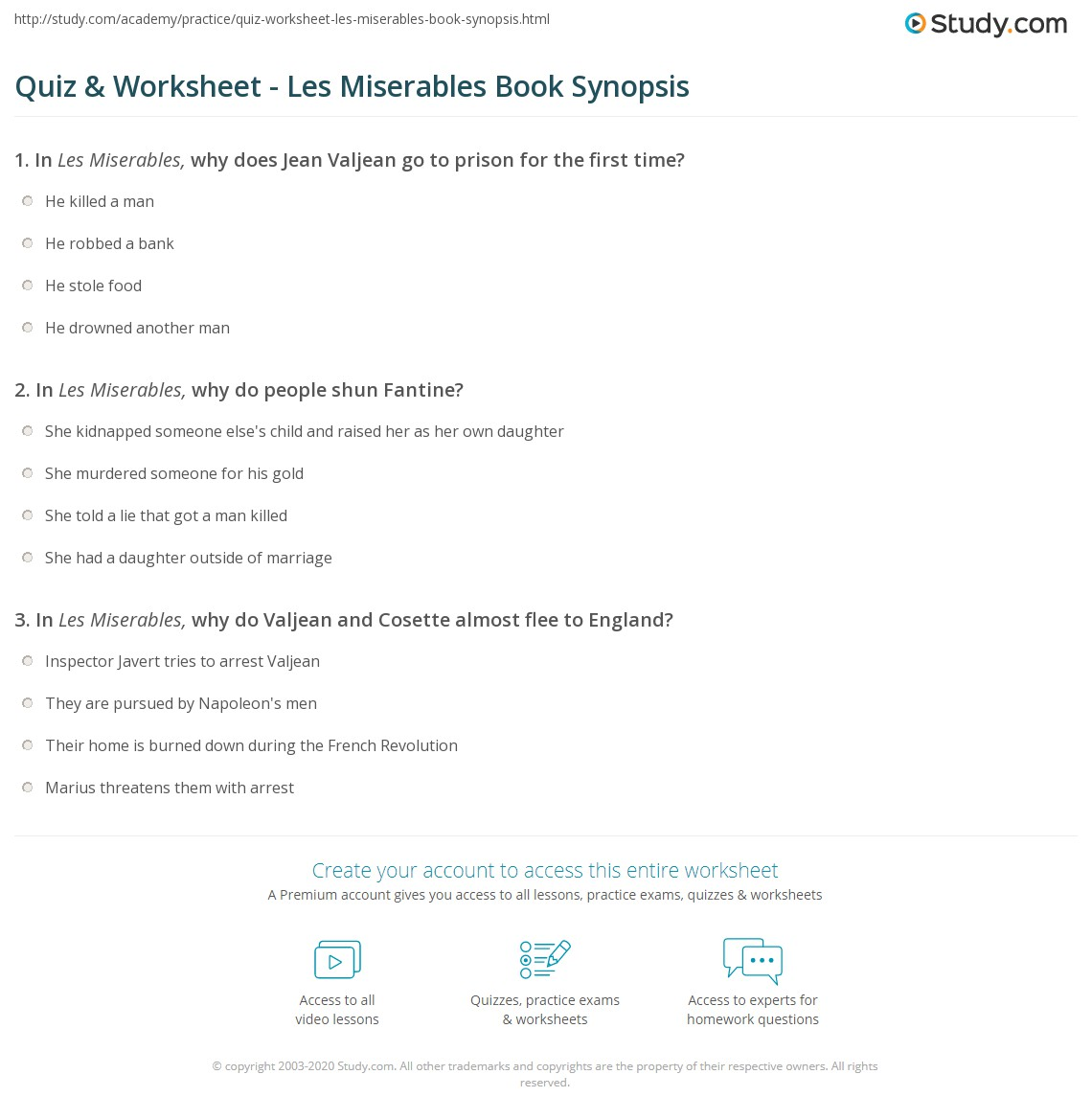 quiz worksheet les miserables book synopsis com print les miserables book summary worksheet