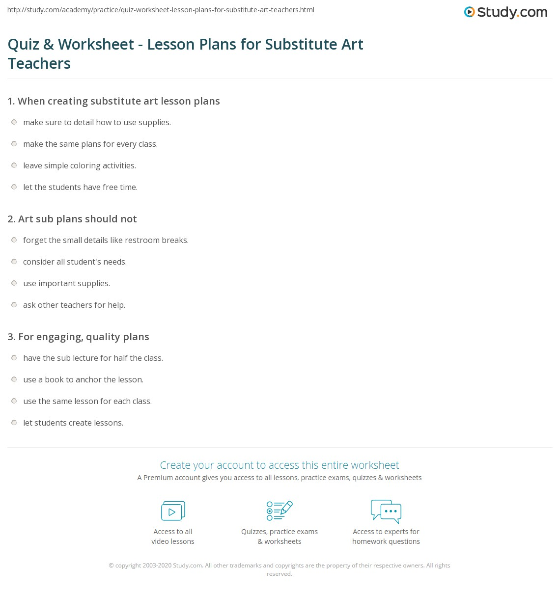 Printables Substitute Teacher Worksheets quiz worksheet lesson plans for substitute art teachers print teacher worksheet
