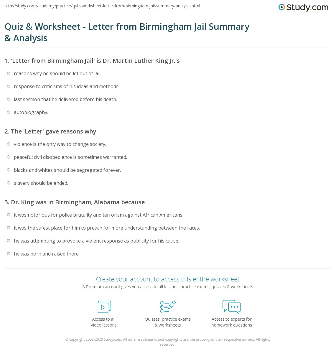 print letter from birmingham jail summary analysis worksheet