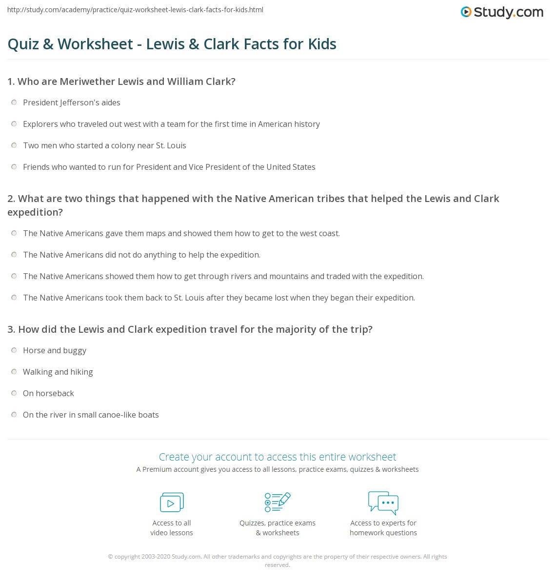 Quiz Worksheet Lewis Clark Facts for Kids – Lewis and Clark Worksheets