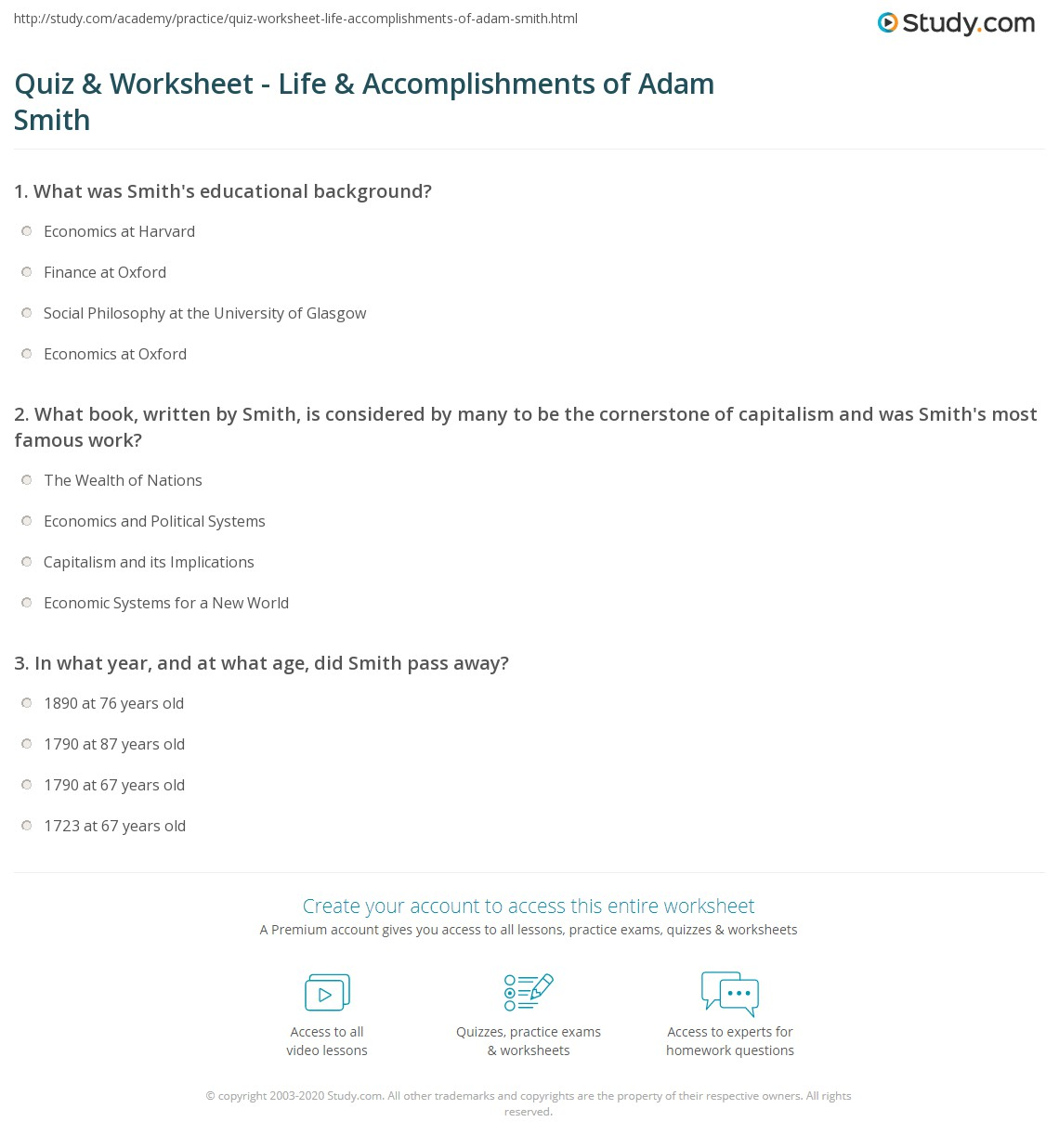 quiz worksheet life accomplishments of adam smith com print economist adam smith theory biography worksheet