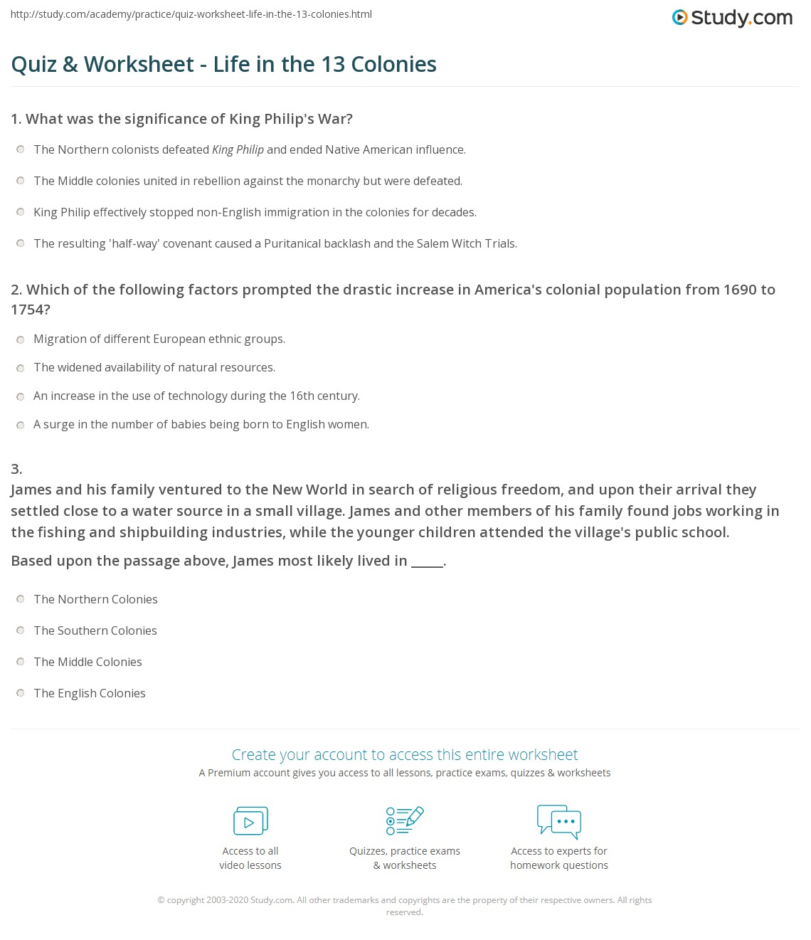 Quiz Worksheet Life in the 13 Colonies – 13 Colonies Worksheets