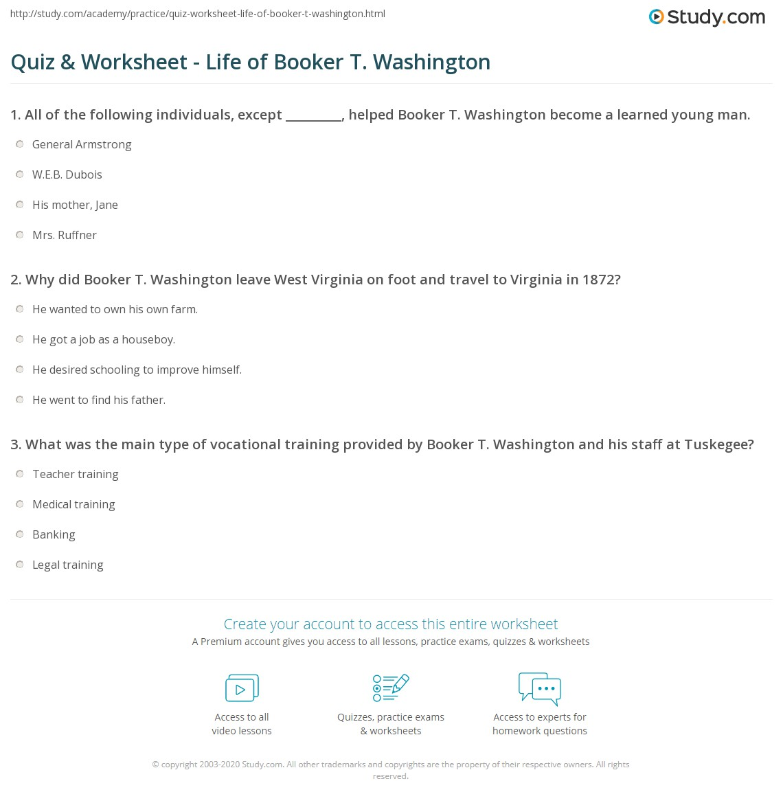 quiz worksheet life of booker t washington com print booker t washington biography quotes accomplishments worksheet
