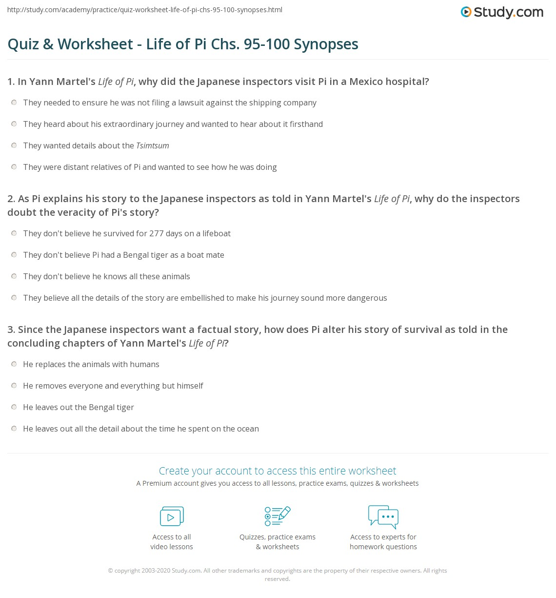 Quiz worksheet life of pi chs 95 100 synopses for Life of pi chapter summary